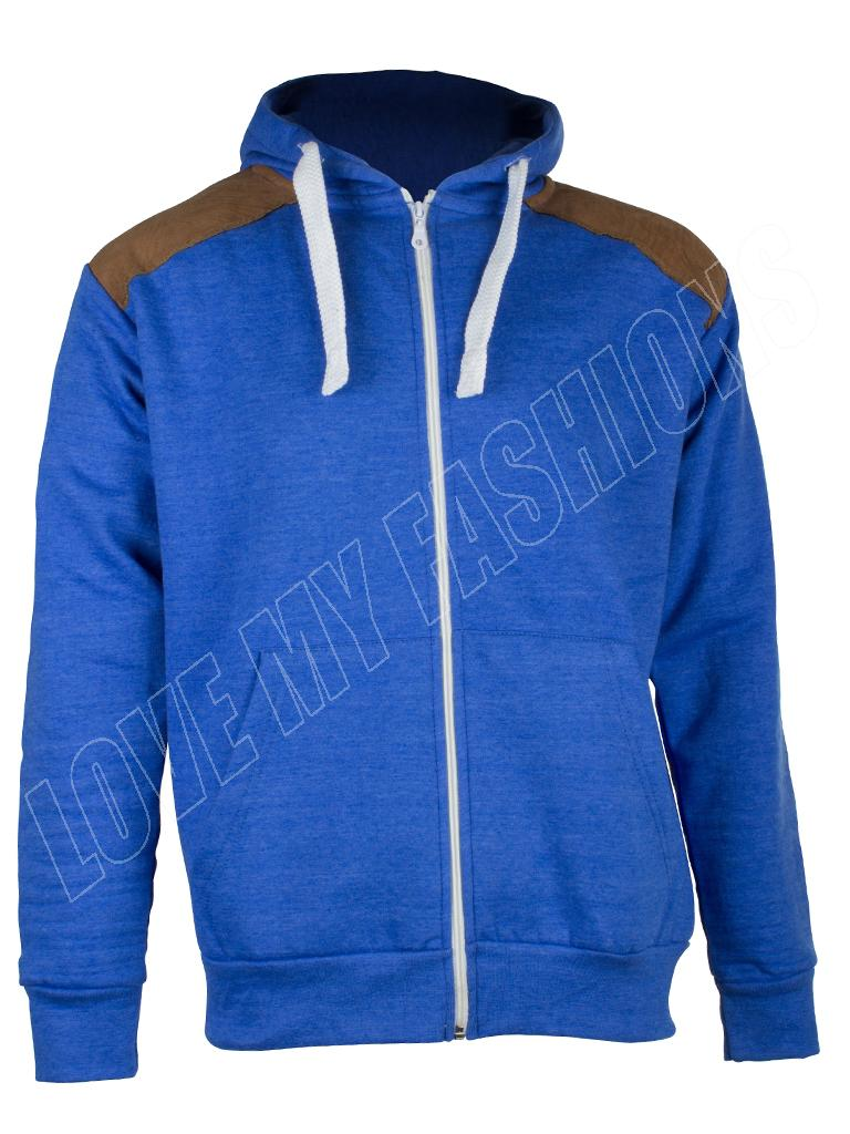 Mens Sweatshirt Hood Plain Fleece Zip Suede Bomber Jacket Hoodie Drawstring Top