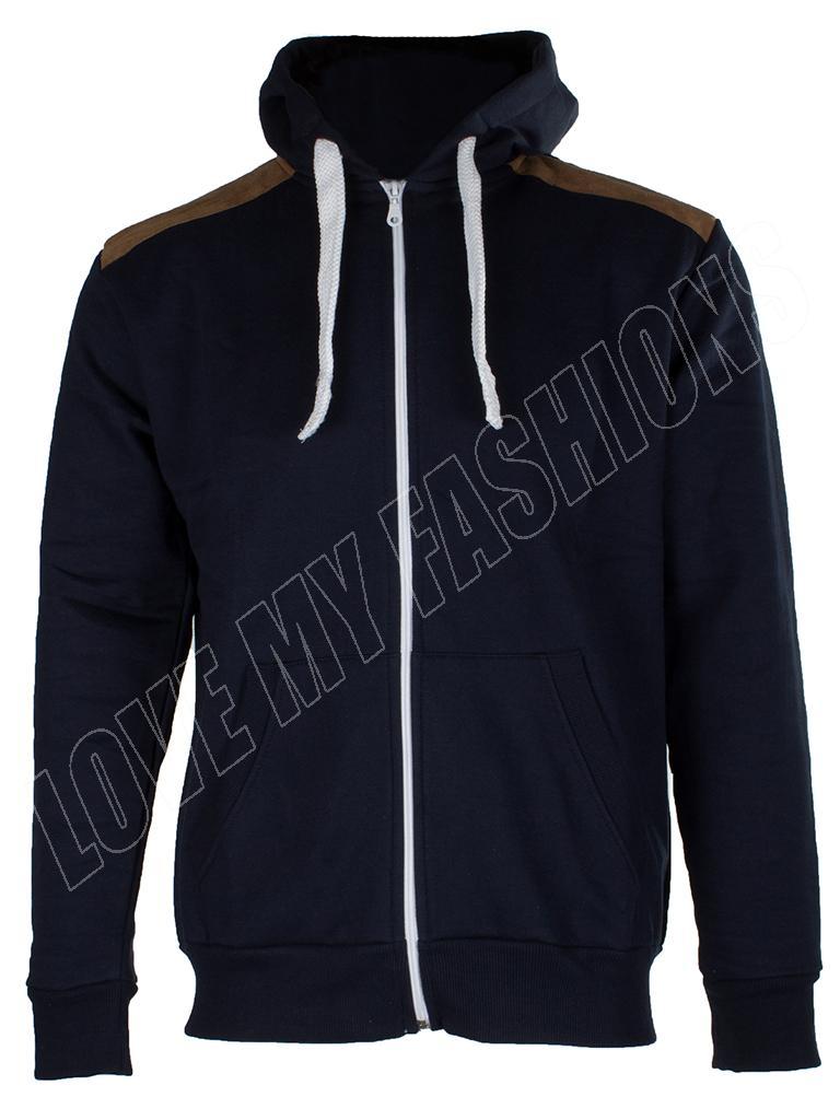 New-Mens-Suede-Patch-Fleece-Zip-Hooded-Hoodie-Sweatshirt-Top-Size-S-M-L-XL-XXL