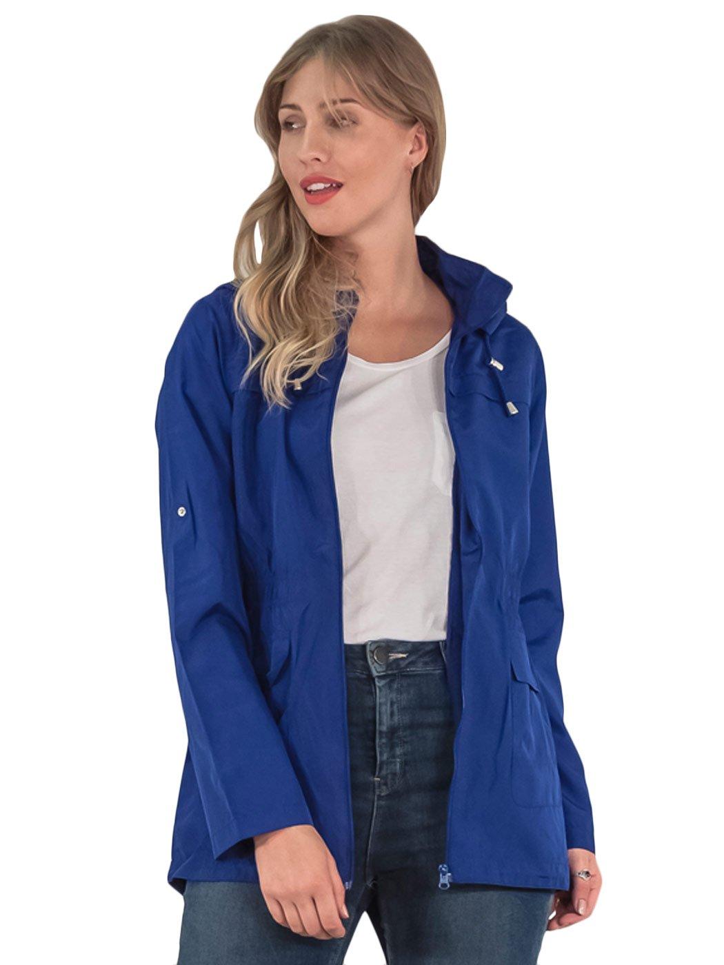 Womens-RainCoat-Plain-Hooded-Ladies-Jacket-Kagool-Parka-Long-Sleeves-Two-Pockets thumbnail 20