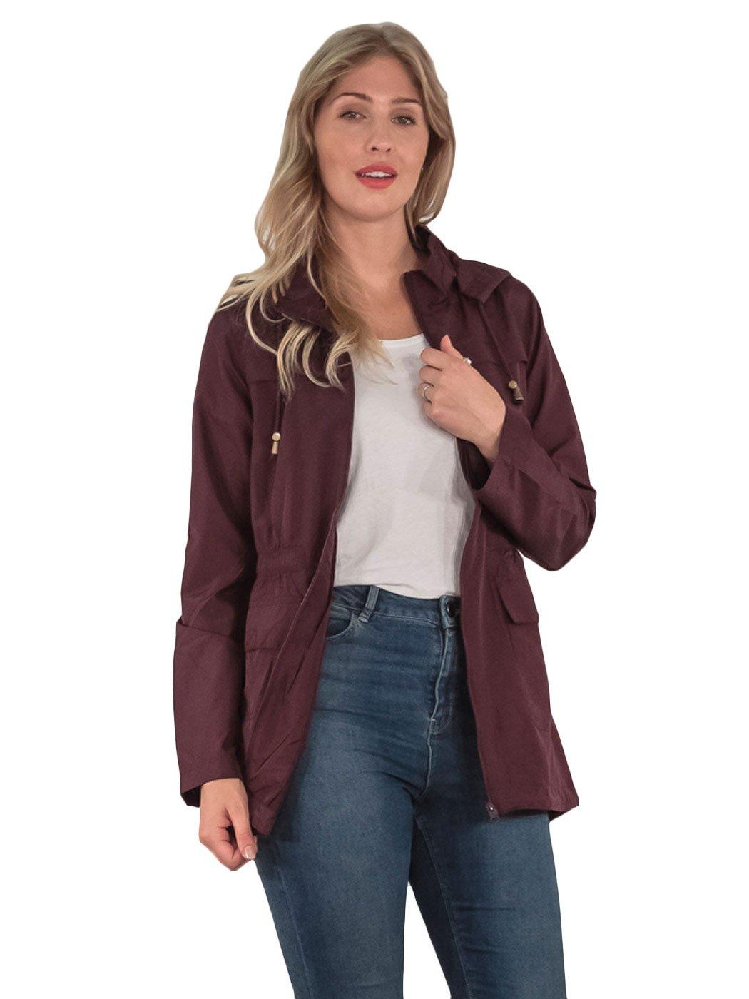 Womens-RainCoat-Plain-Hooded-Ladies-Jacket-Kagool-Parka-Long-Sleeves-Two-Pockets thumbnail 17