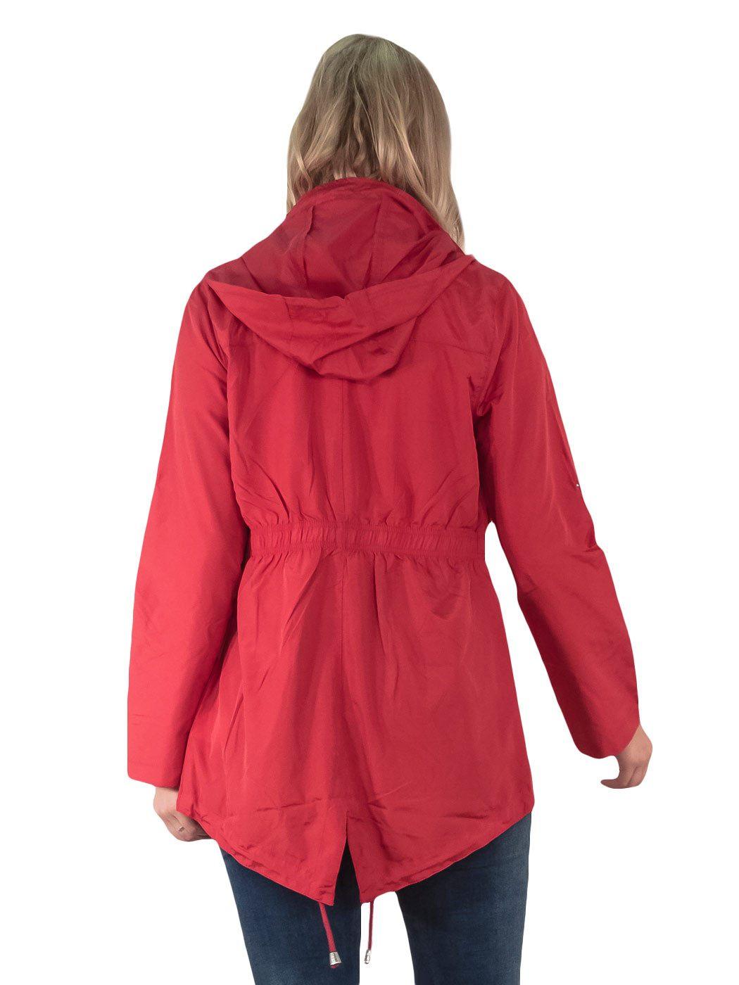 Womens-RainCoat-Plain-Hooded-Ladies-Jacket-Kagool-Parka-Long-Sleeves-Two-Pockets thumbnail 7
