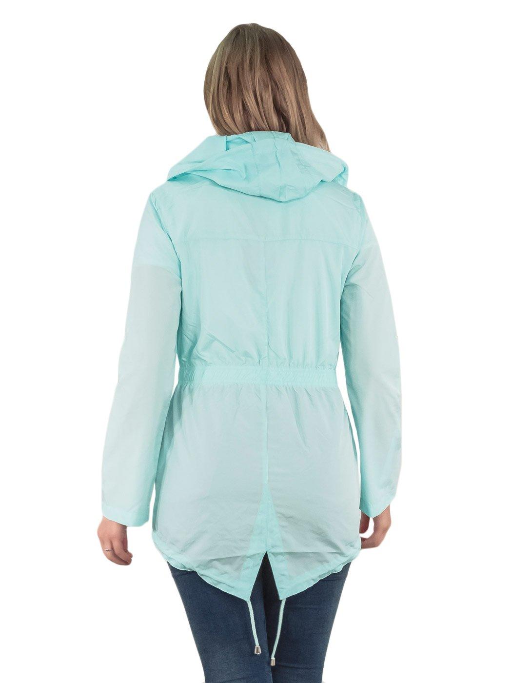 Womens-RainCoat-Plain-Hooded-Ladies-Jacket-Kagool-Parka-Long-Sleeves-Two-Pockets thumbnail 12