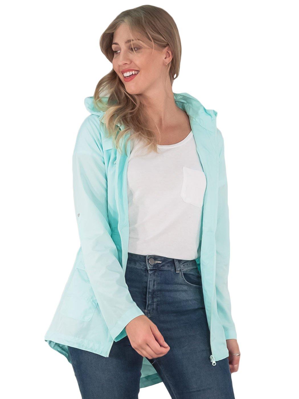 Womens-RainCoat-Plain-Hooded-Ladies-Jacket-Kagool-Parka-Long-Sleeves-Two-Pockets thumbnail 13