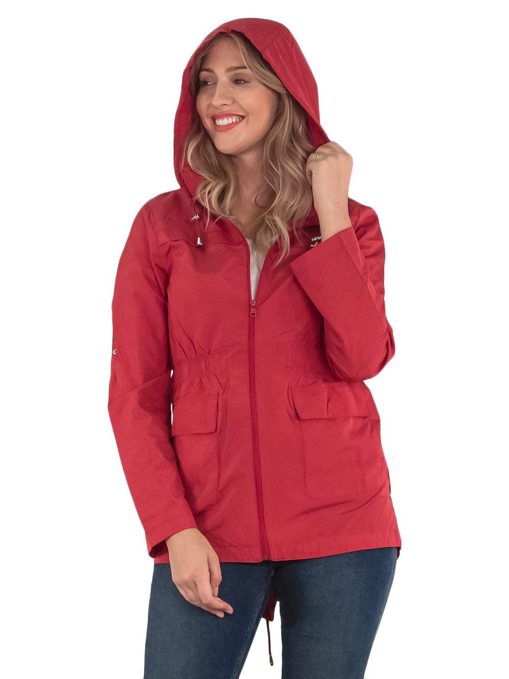 Womens-RainCoat-Plain-Hooded-Ladies-Jacket-Kagool-Parka-Long-Sleeves-Two-Pockets thumbnail 8