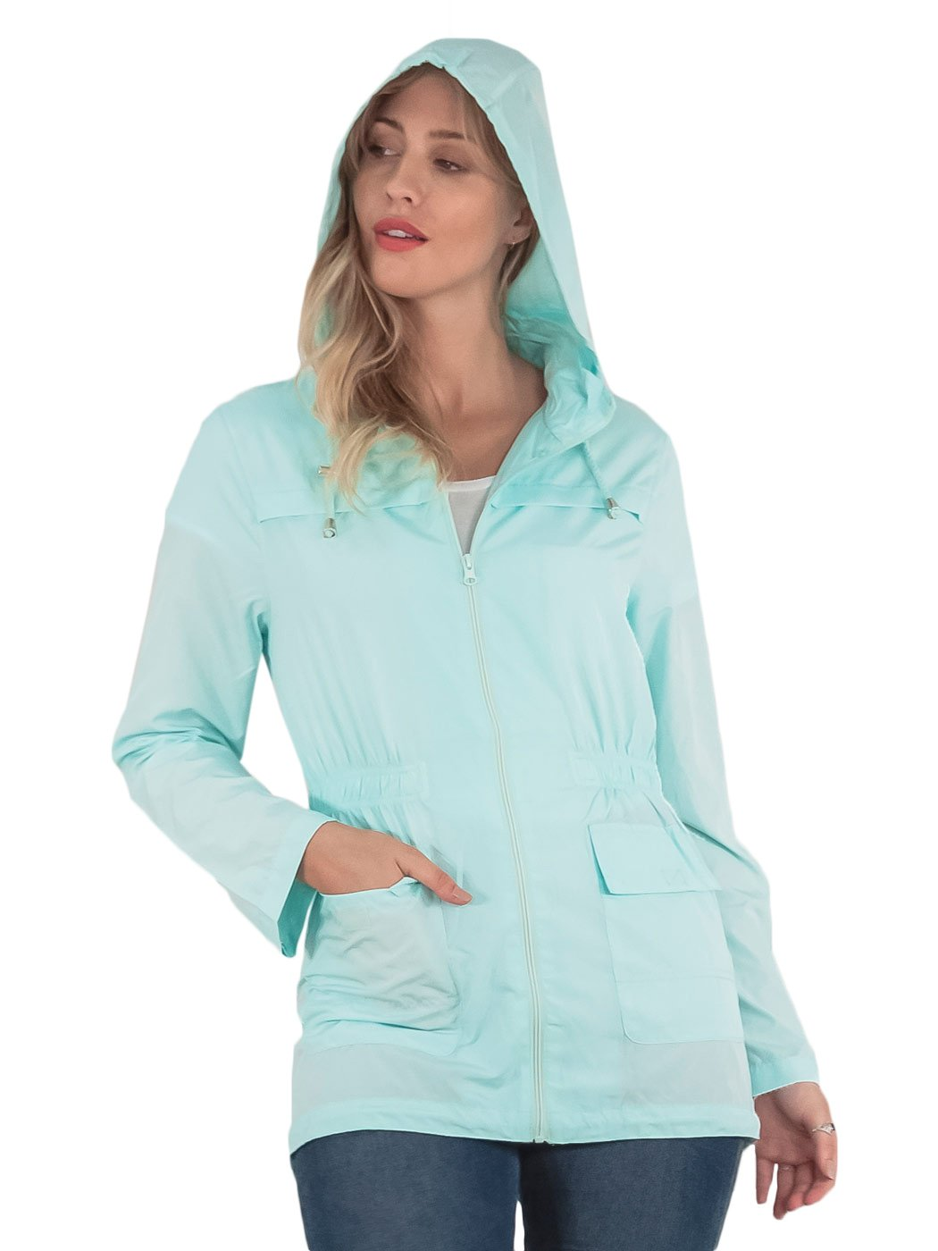 Women rain jacket with hood