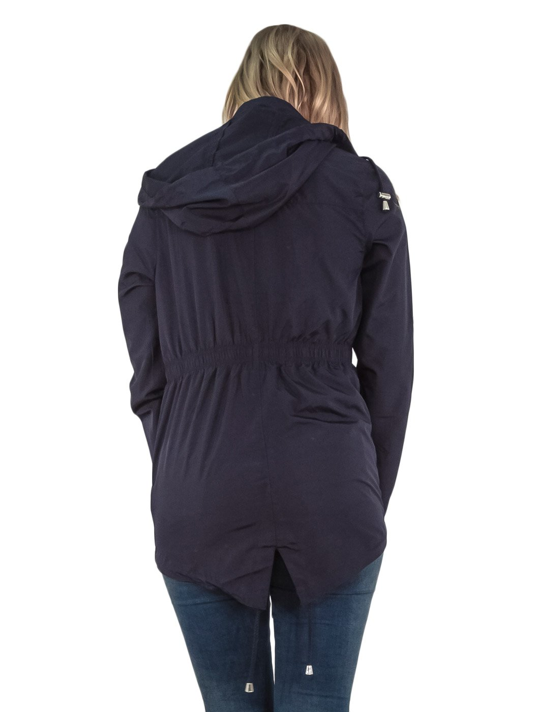 Womens-RainCoat-Plain-Hooded-Ladies-Jacket-Kagool-Parka-Long-Sleeves-Two-Pockets thumbnail 4