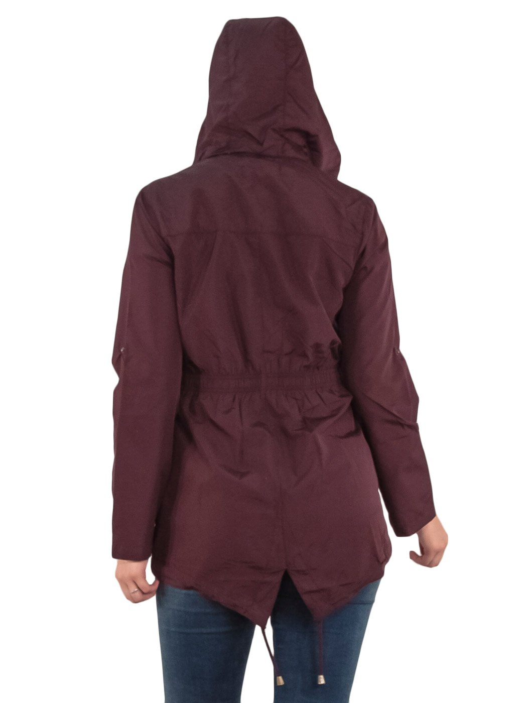 Womens-RainCoat-Plain-Hooded-Ladies-Jacket-Kagool-Parka-Long-Sleeves-Two-Pockets thumbnail 16