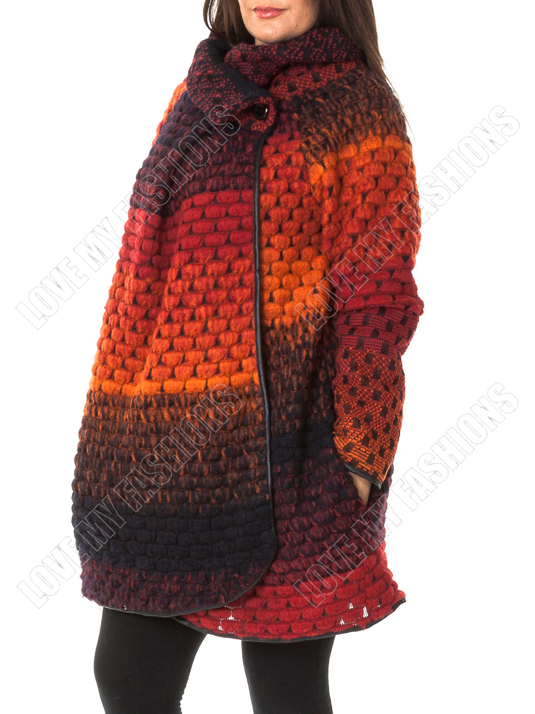 Womens Italian Quirky Layer Bubble Wool Funnel Neck Cocoon