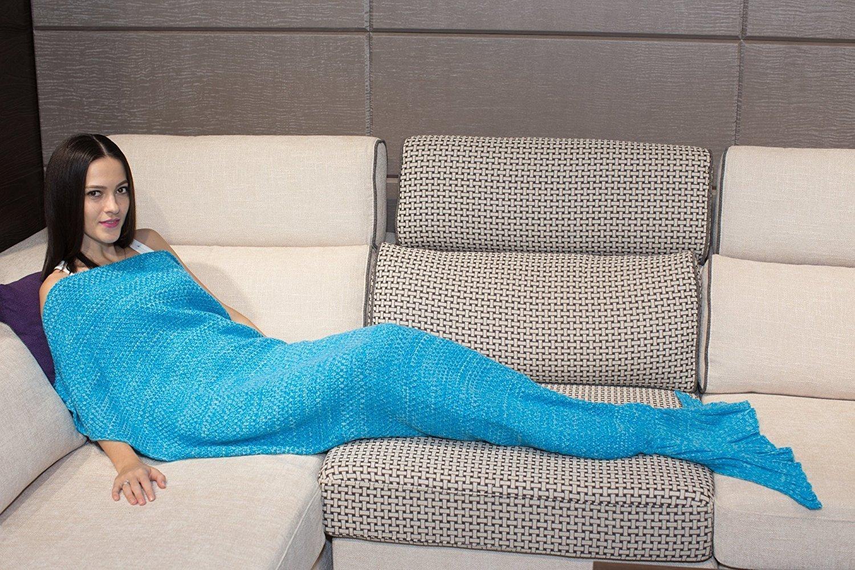 Adults mermaid blanket fish tail quilt sofa rug crochet for Sofas y punto