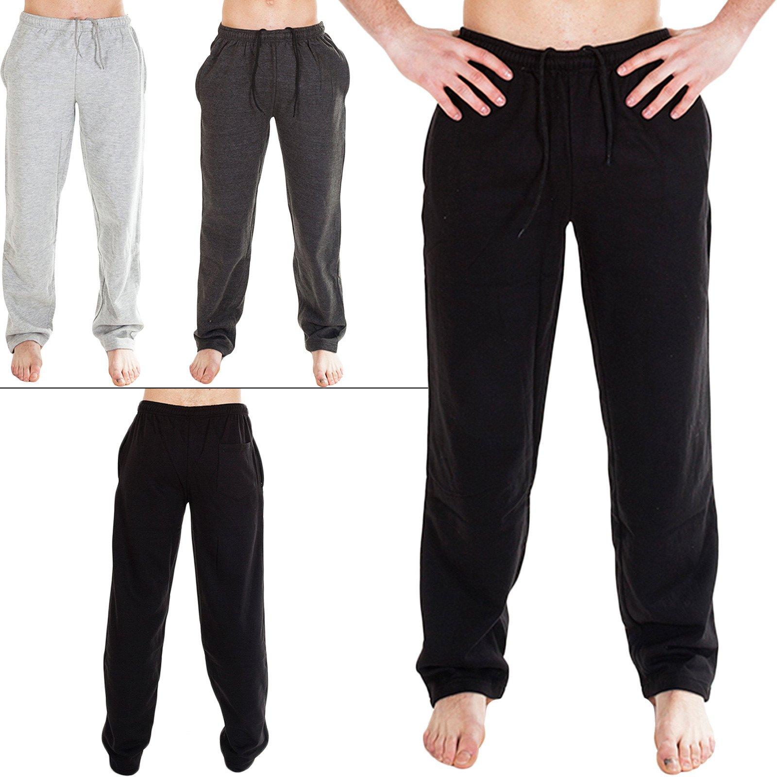 Mens Trouser Jogging Fleece Bottom Sweatpants Gym Tracksuit Open Hem Loose Fit