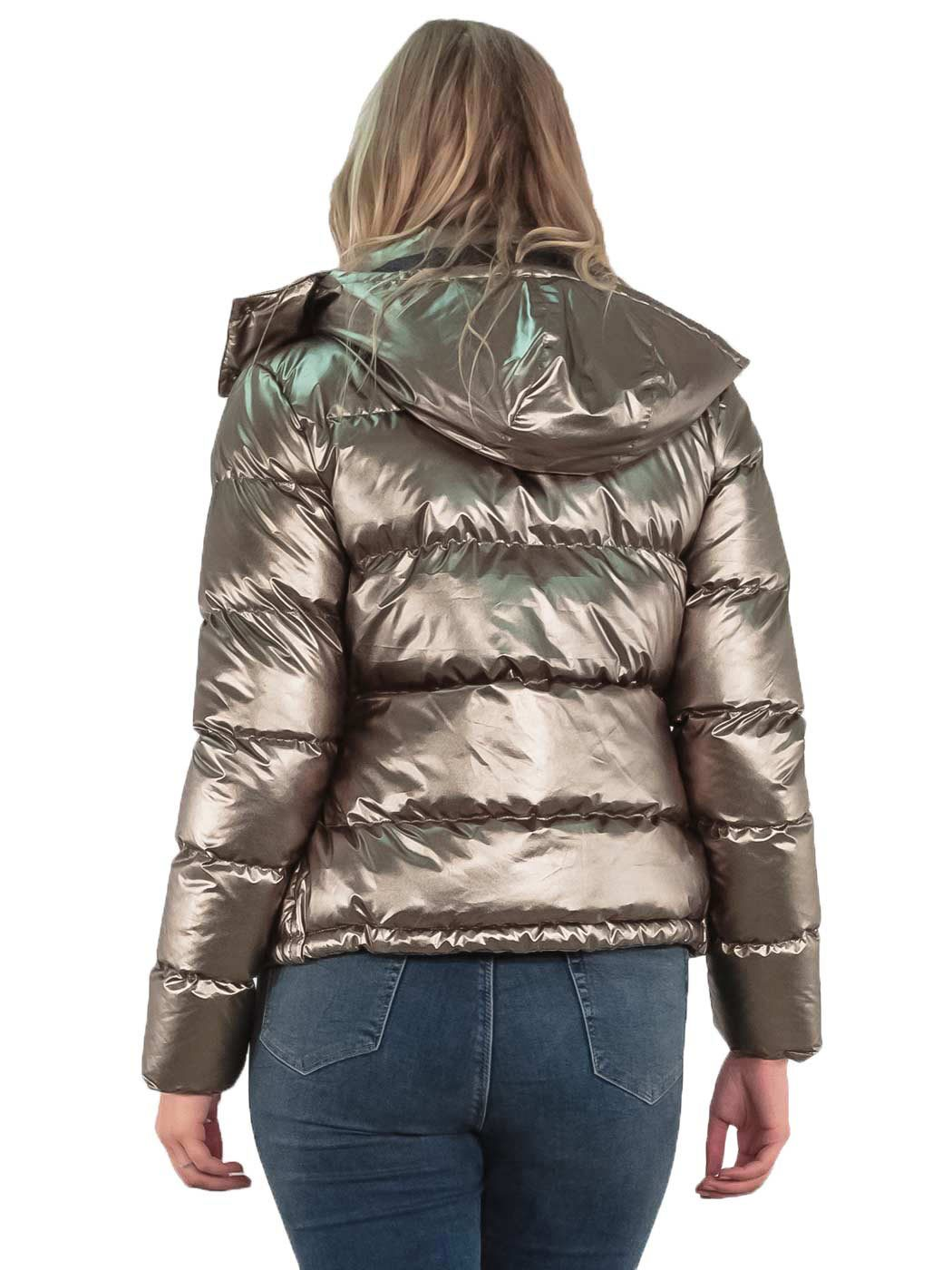 6a496cbe406 Womens Puffer jacket Metallic Bomber Hooded Padded Winter Ladies Parka Coat  8 16