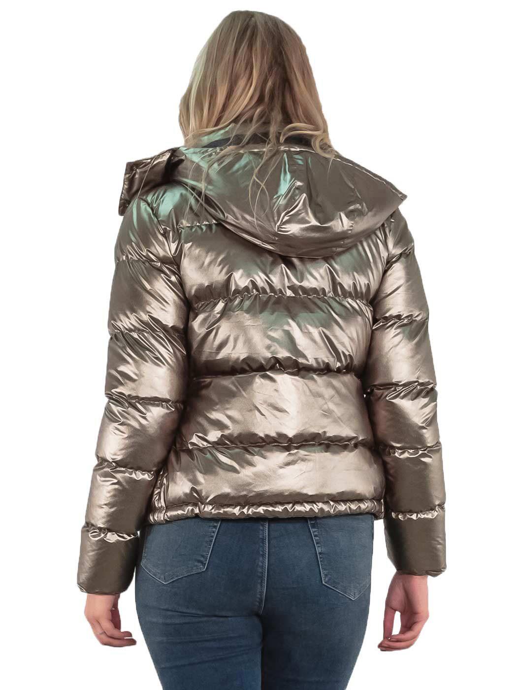 Womens Puffer Jacket Metallic Bomber Hooded Padded Winter