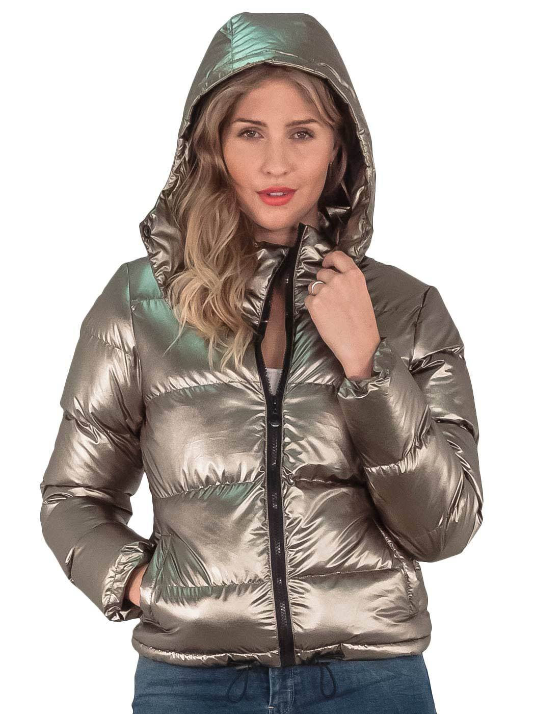 9d395bcce18 Womens Parka jacket Metallic Winter Bomber Hooded Padded Ladies Puffer Coat  8-16