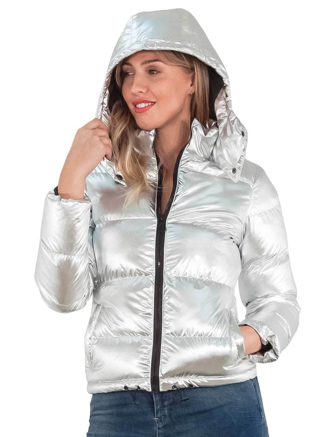 Details about Womens Puffer jacket Metallic Bomber Hooded Padded Winter  Ladies Parka Coat 8 16 6e91619ef7