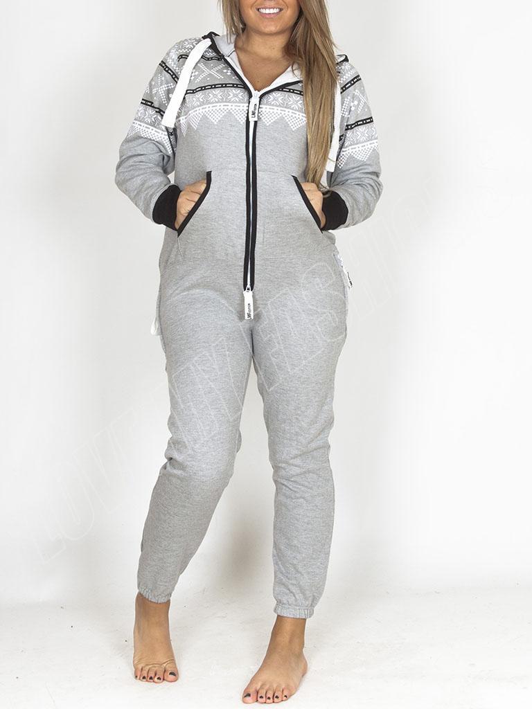 Unisex Adult Zip Up Hooded Womens Jumpsuit Aztec Print Ladies Pyjama Nightwear M