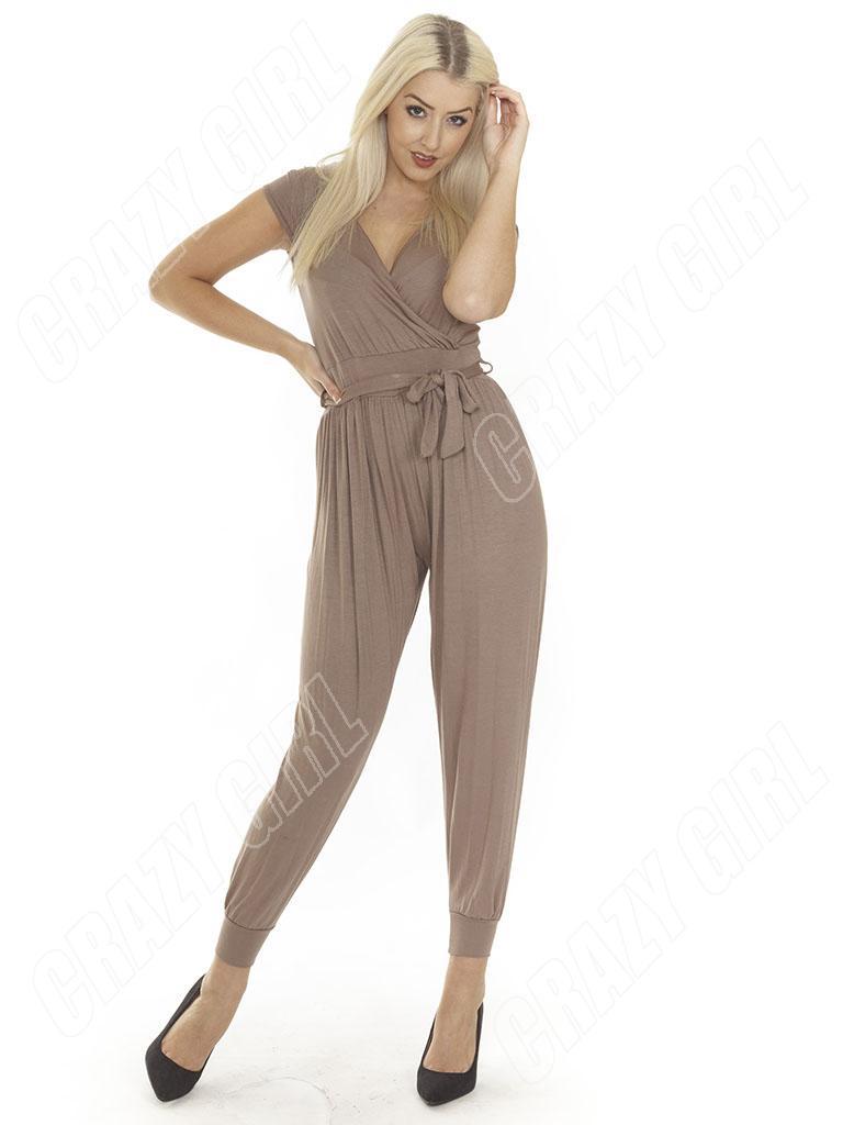 New-Ladies-Womens-Animal-Leopard-Print-Wrap-Jumpsuit-Playsuit-Size-S-M-L-XL-8-14