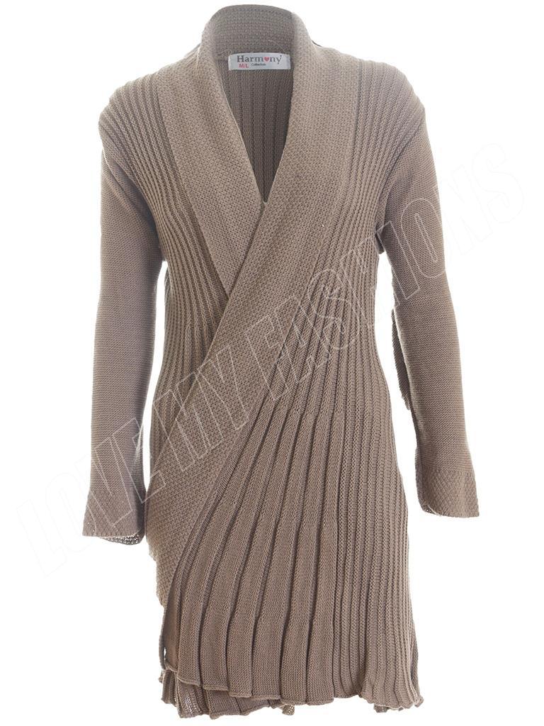 Womens Ladies Long Sleeve Crochet Knitted Waterfall Open Cardigan ...