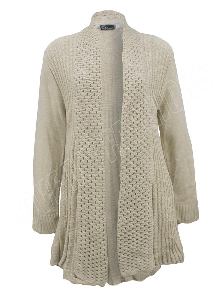 Womens Ladies Long Sleeve Crochet Knitted Waterfall Open Cardigan ...