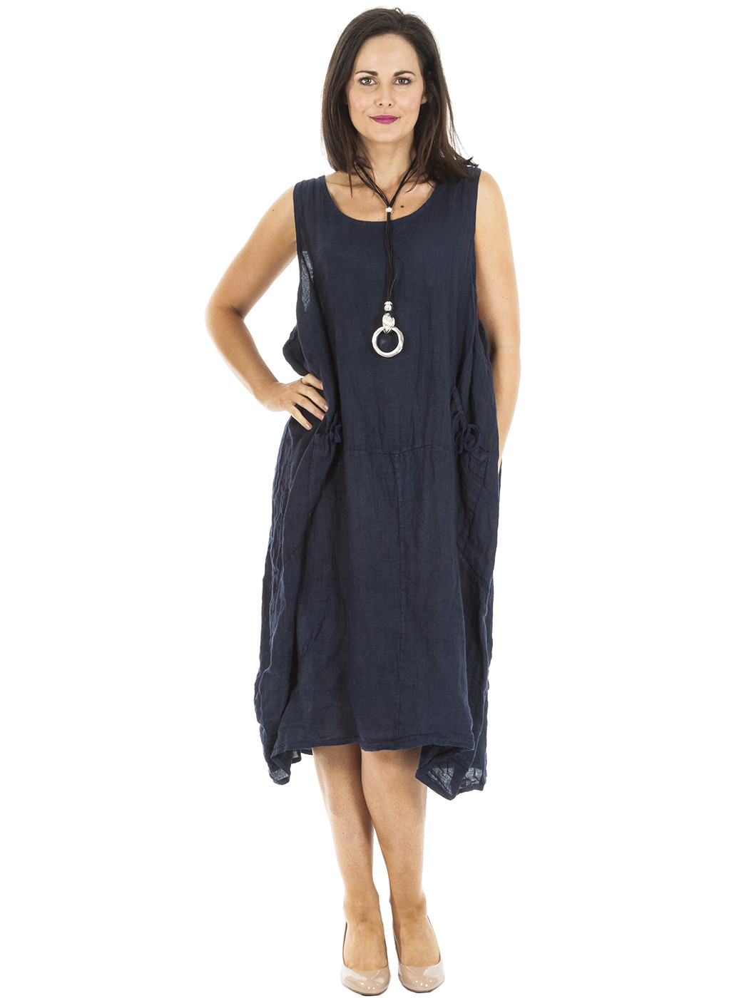 New Womens Italian Linen Lagenlook Scoop Neck Bow Pocket ...