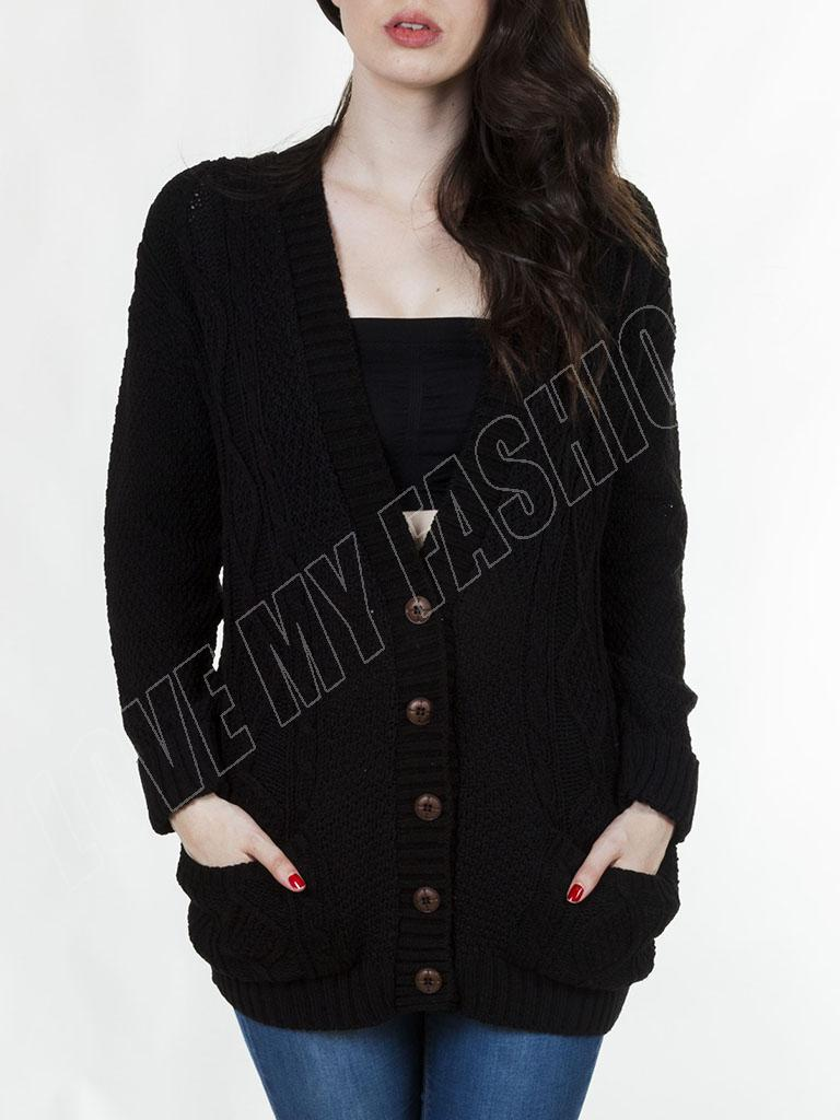 New Womens Cable Knit 5 Button Baggy Boyfriend Ladies Cardigan ...