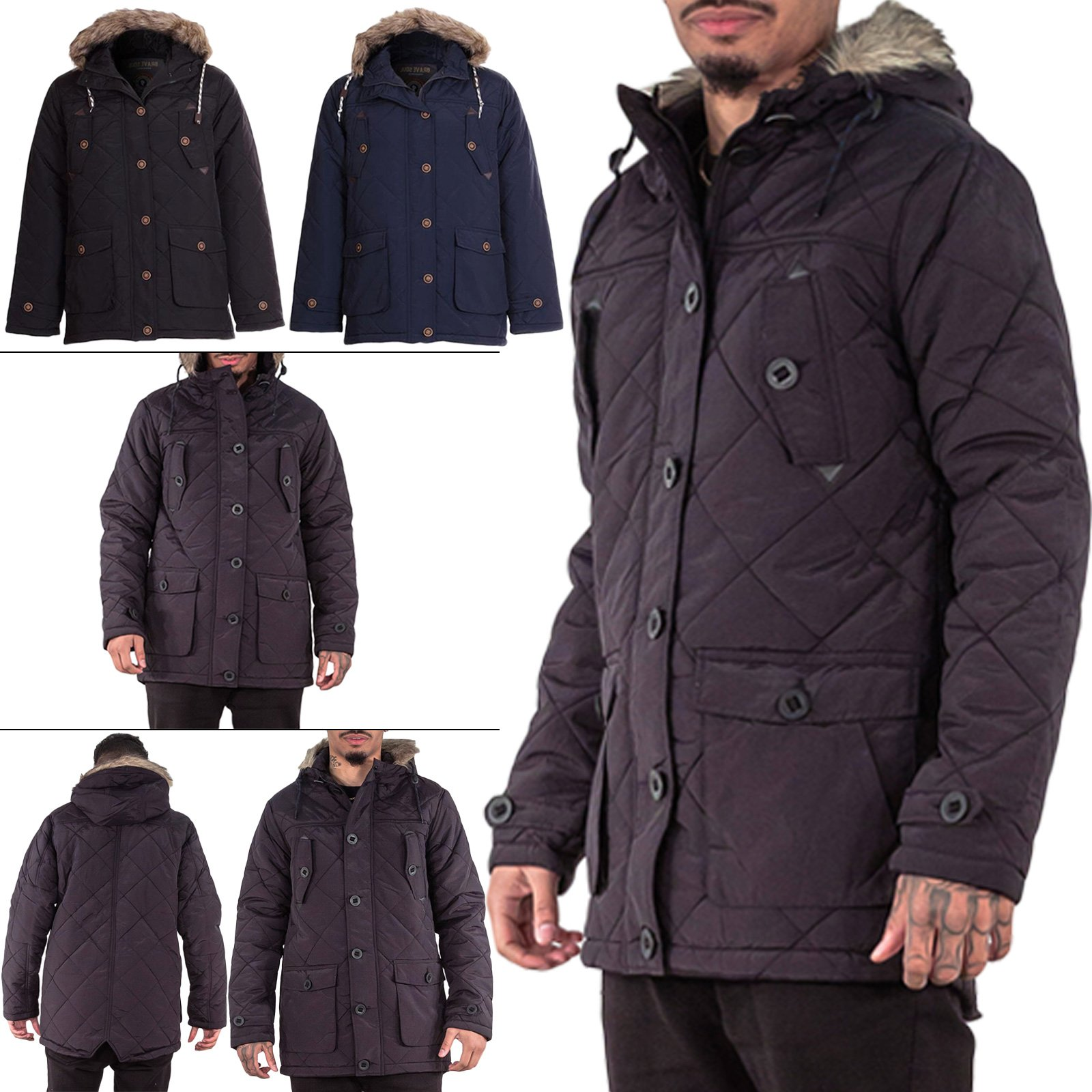 Brave SoulMens Jacket Hooded Drawstring Faux Fur Lining Parka Coat Long Sleeve