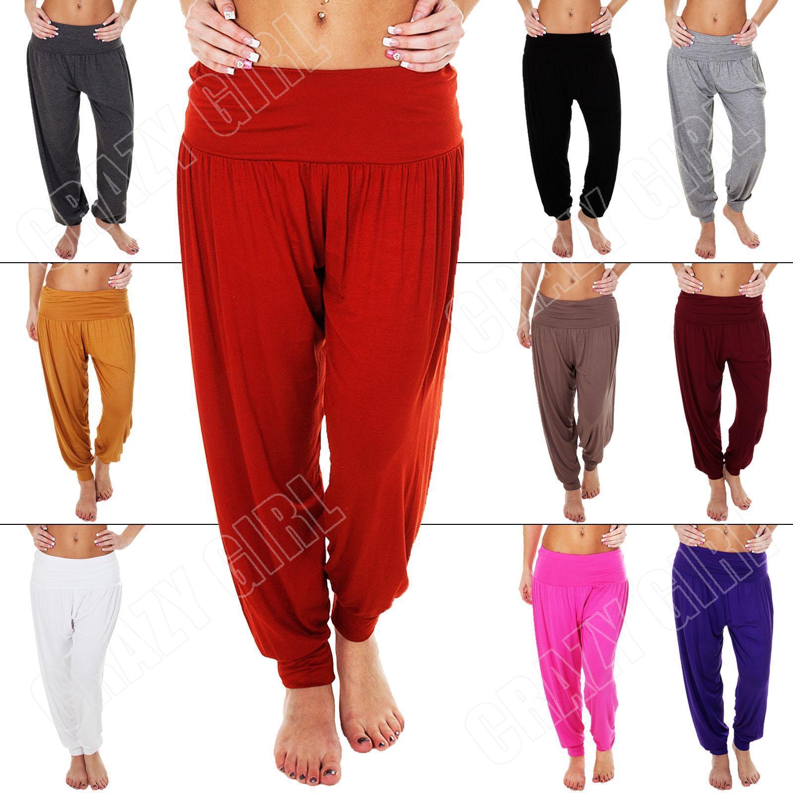 New Ladies Womens Ali Baba Hareem Pants Harem Plain Trousers Plus Size S M L XL