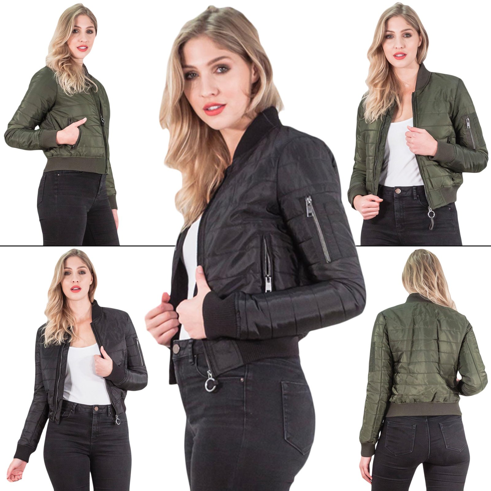 ladies women bomber padded jacket by Brave Soul vintage army biker classic
