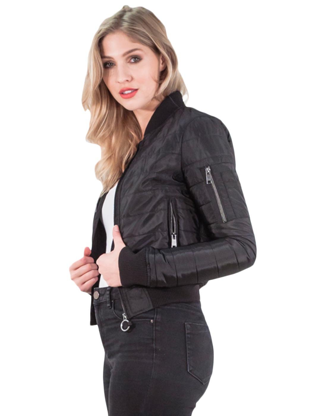 Womens Bomber Padded Vintage Jackets Brave Soul Zip Up ...
