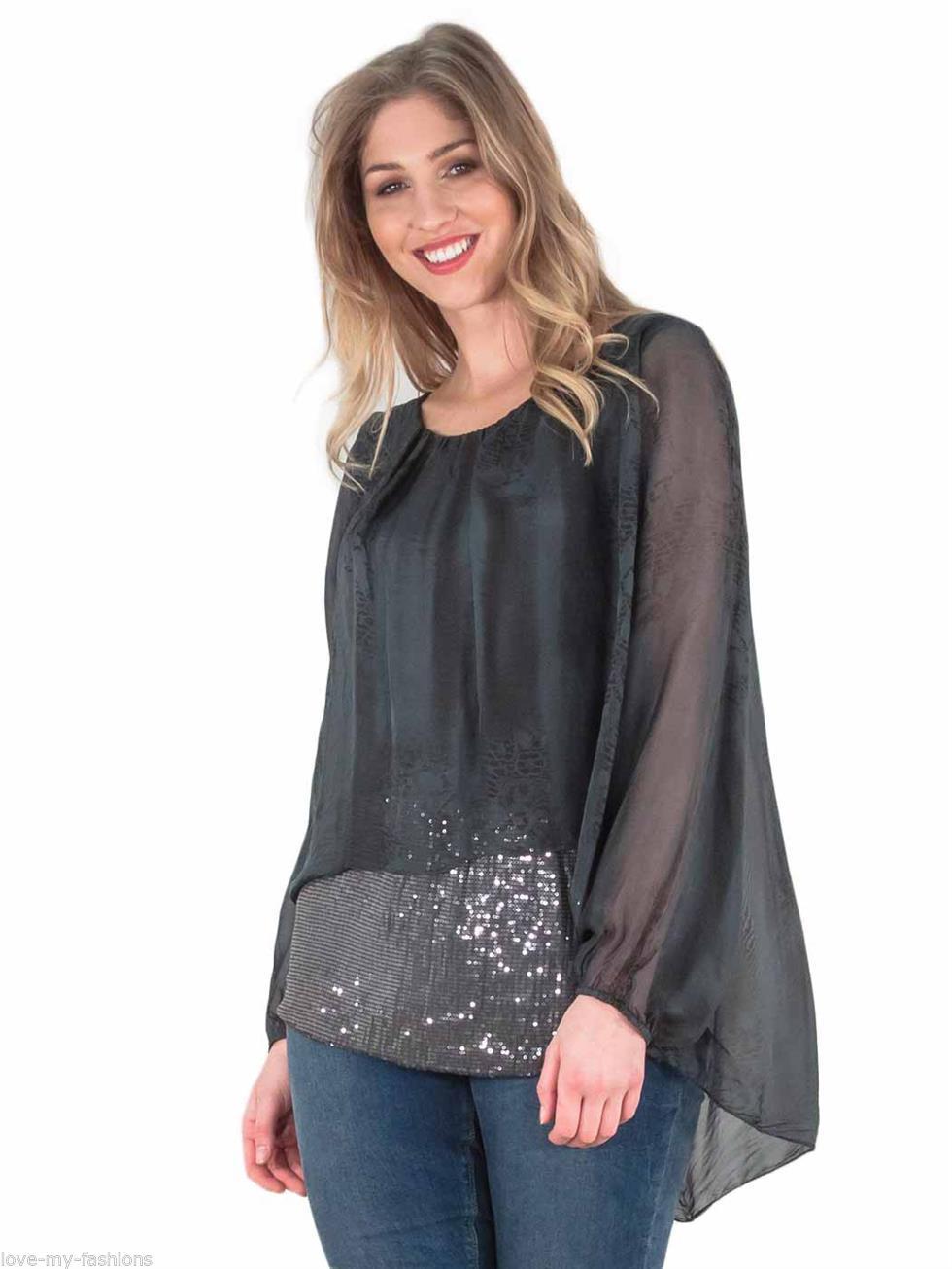 Womens tunic top ladies italian lagenlook sequin long for Womens denim tunic shirt