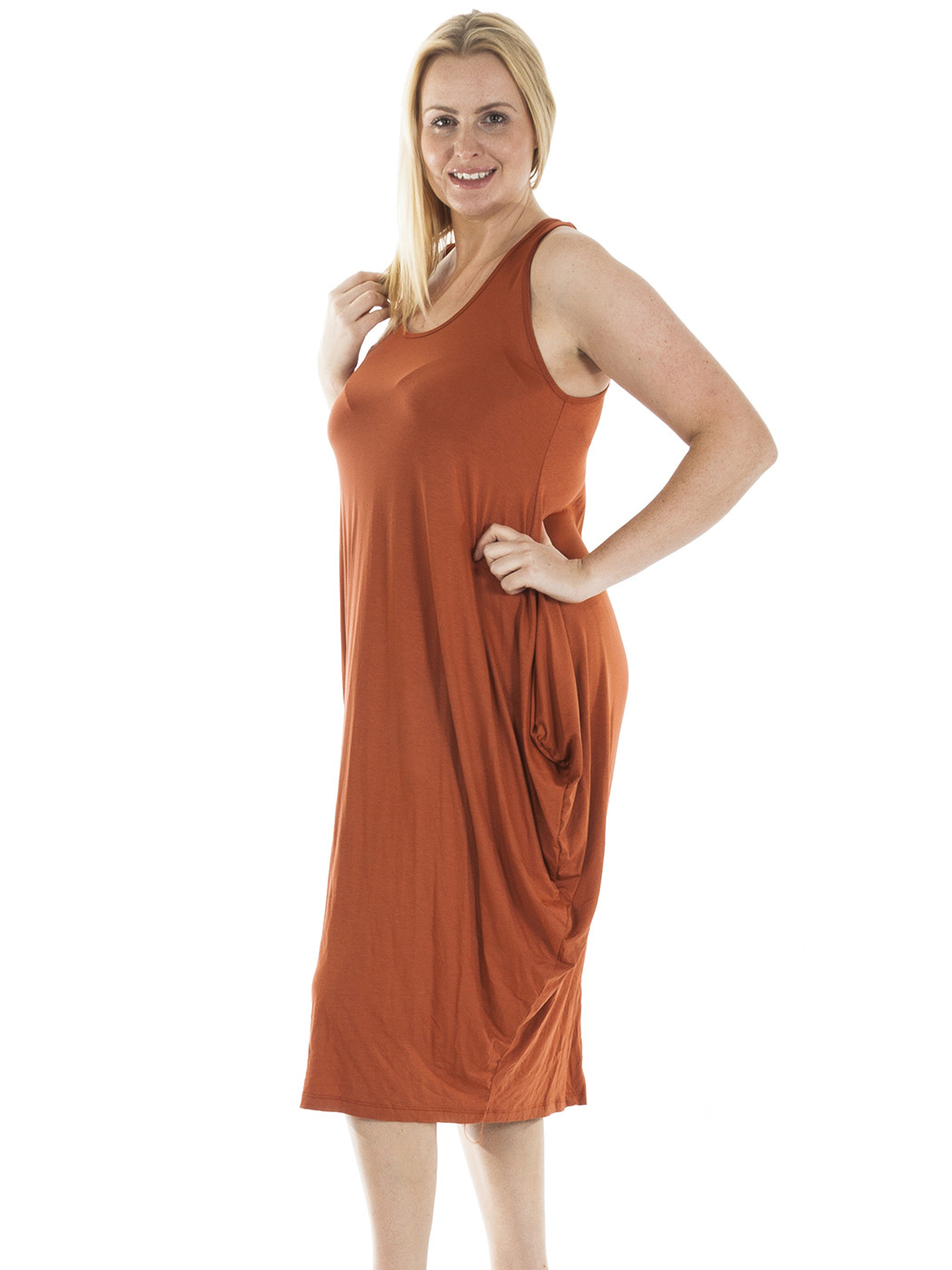 New Womens Italian Lagenlook Plain Sleeveless Tulip Midi ...
