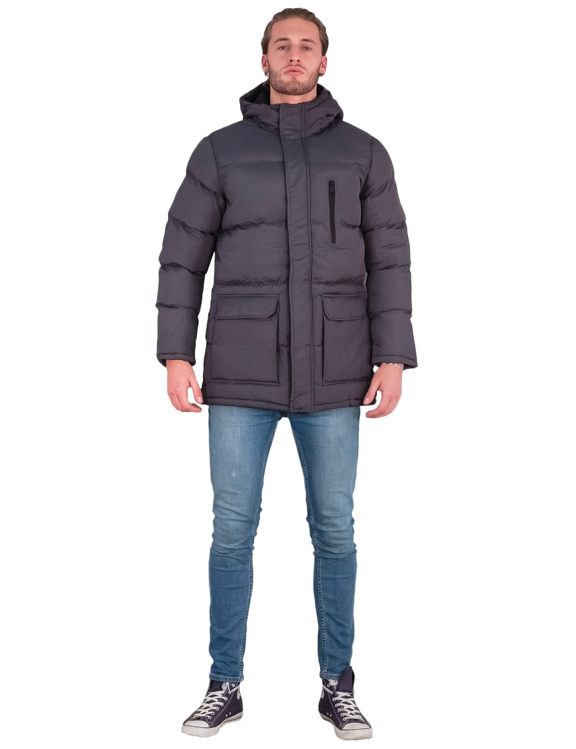 Mens Brave Soul Coat Long Padded Hooded Quilted Puffer ...