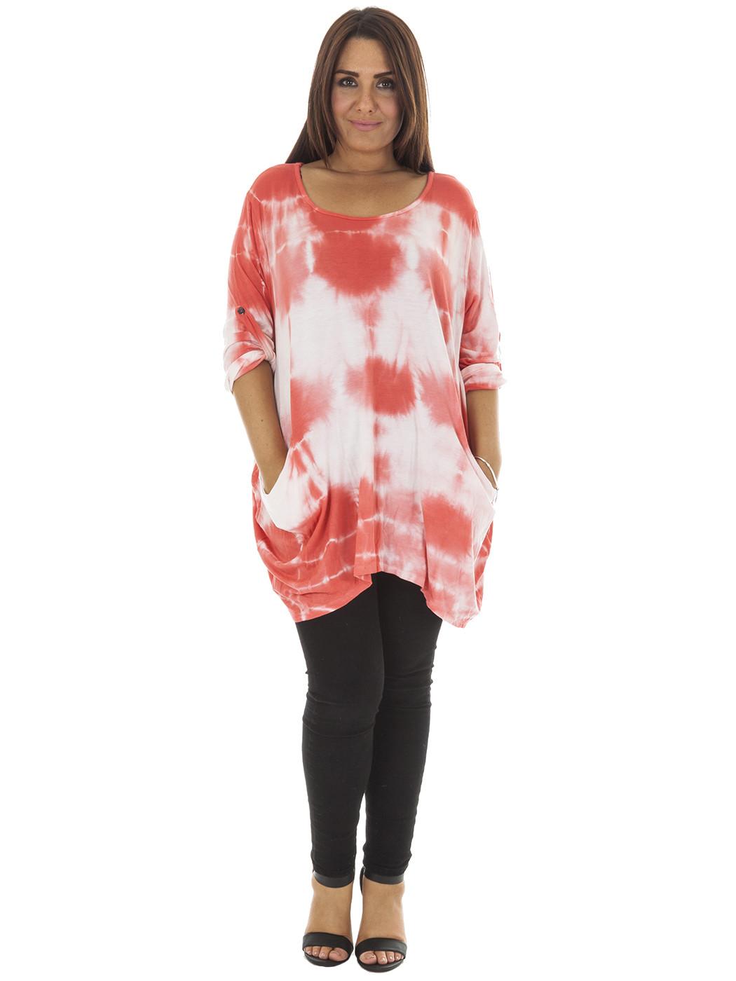 New Womens Italian Lagenlook Quirky Tie Dye Print Plus ...