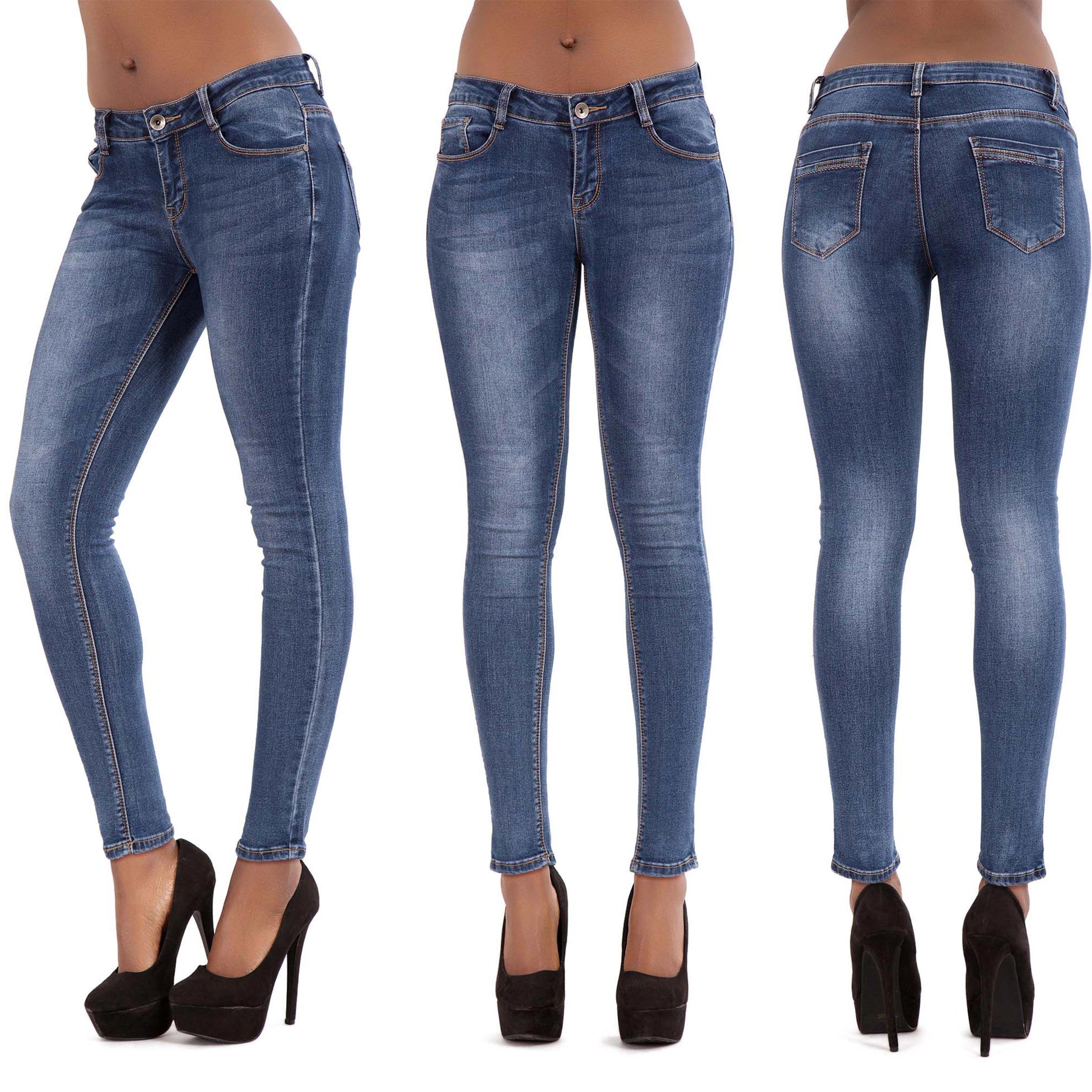 Womens-Ripped-Knee-Skinny-Jeans-Camo-Slim-Fit-Ladies-Denim-Size-6-8-10-12-14