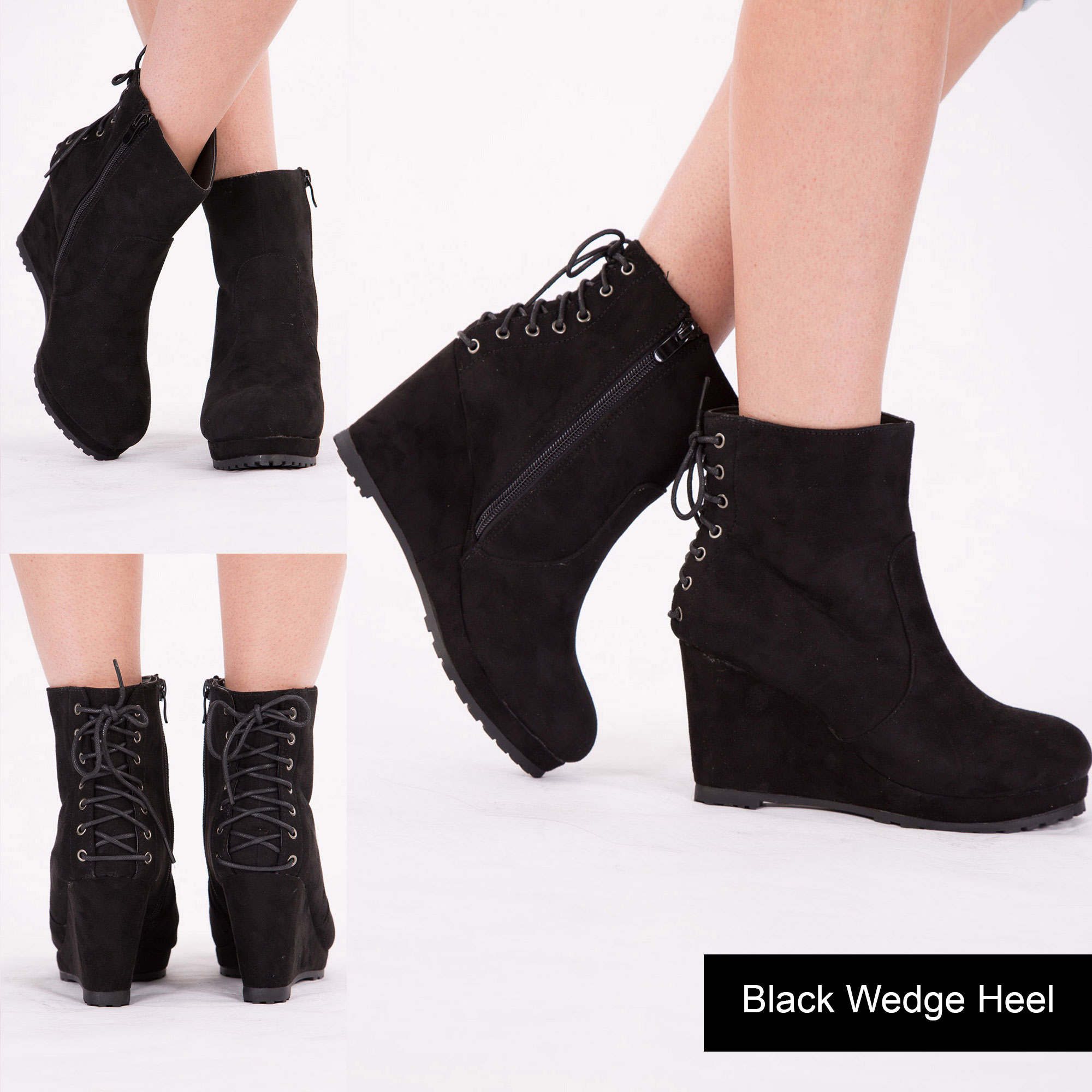 WOMENS LADIES WEDGE HEEL COMBAT ANKLE BOOTS LACE UP BLOCK HEEL ...