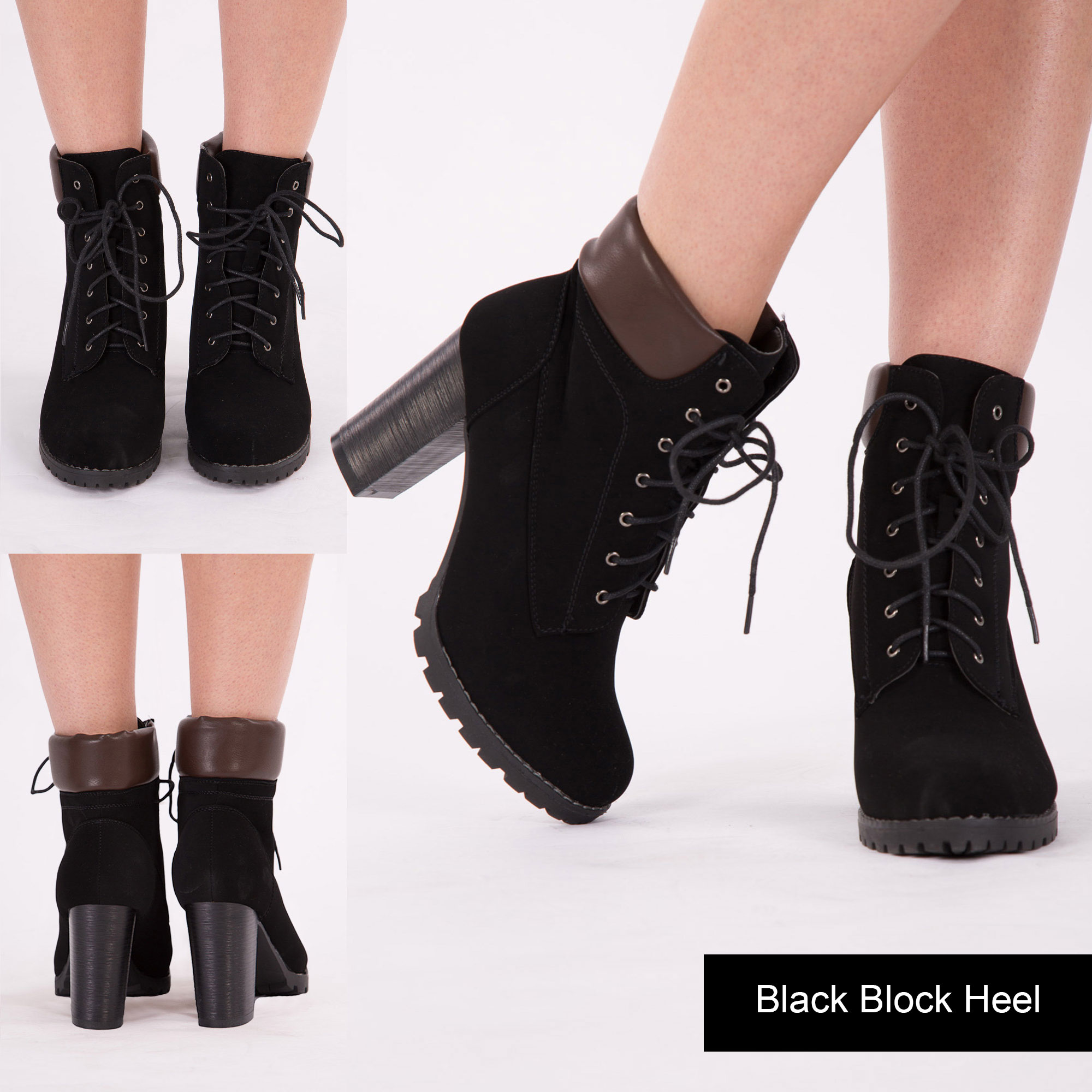WOMENS LADIES WEDGE HEEL COMBAT ANKLE BOOTS LACE UP BLOCK ...