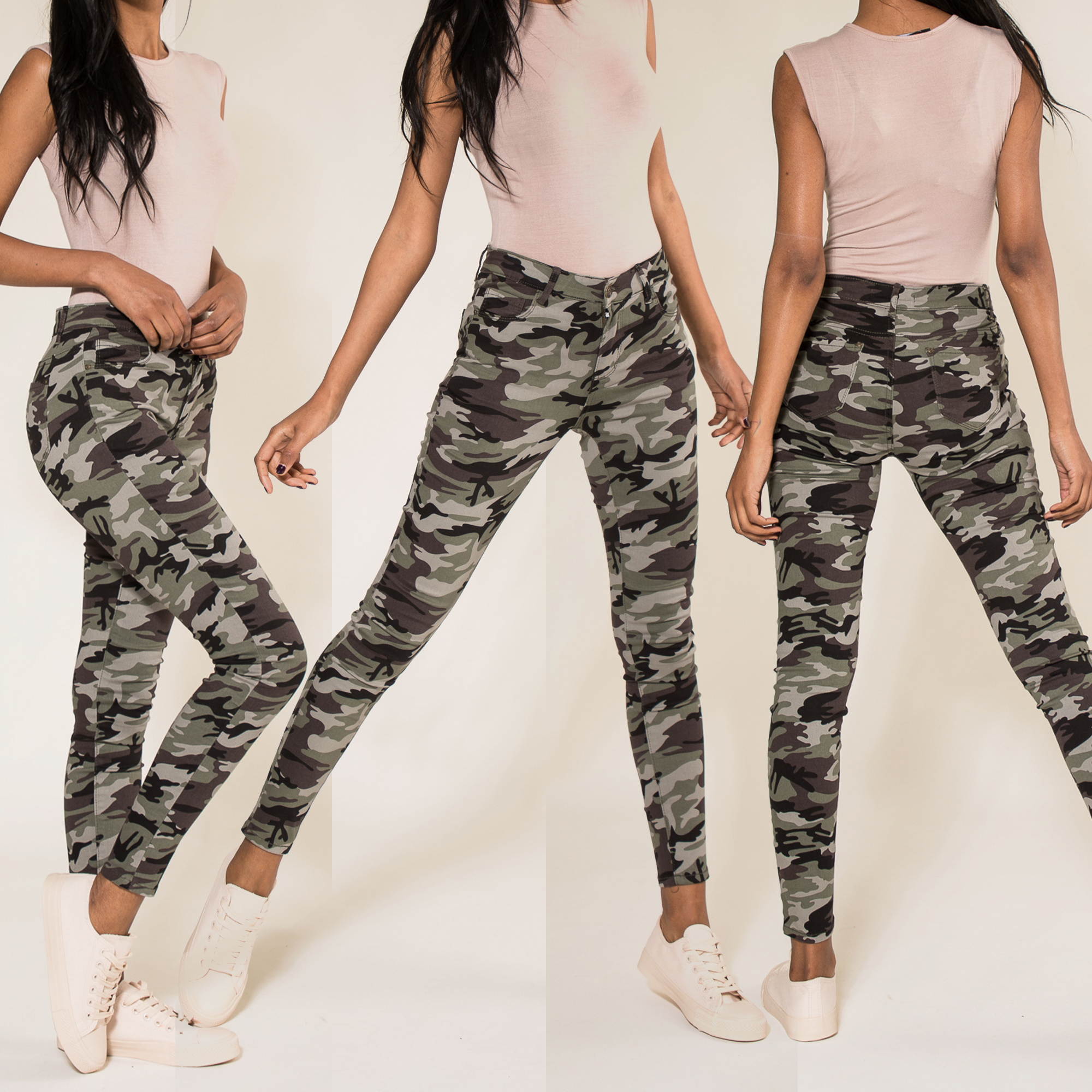 Womens Army Military Camouflage Skinny Stretch Trousers HOT ITEM