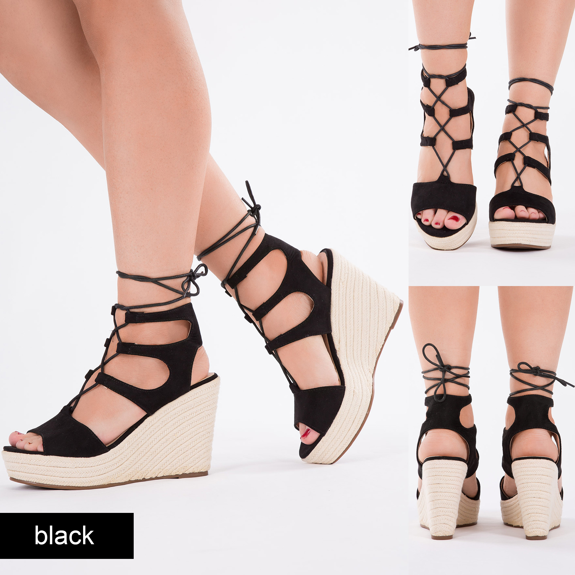 Womens High Wedge Heel Platform Sandals Strappy Ankle Strap Lace ...