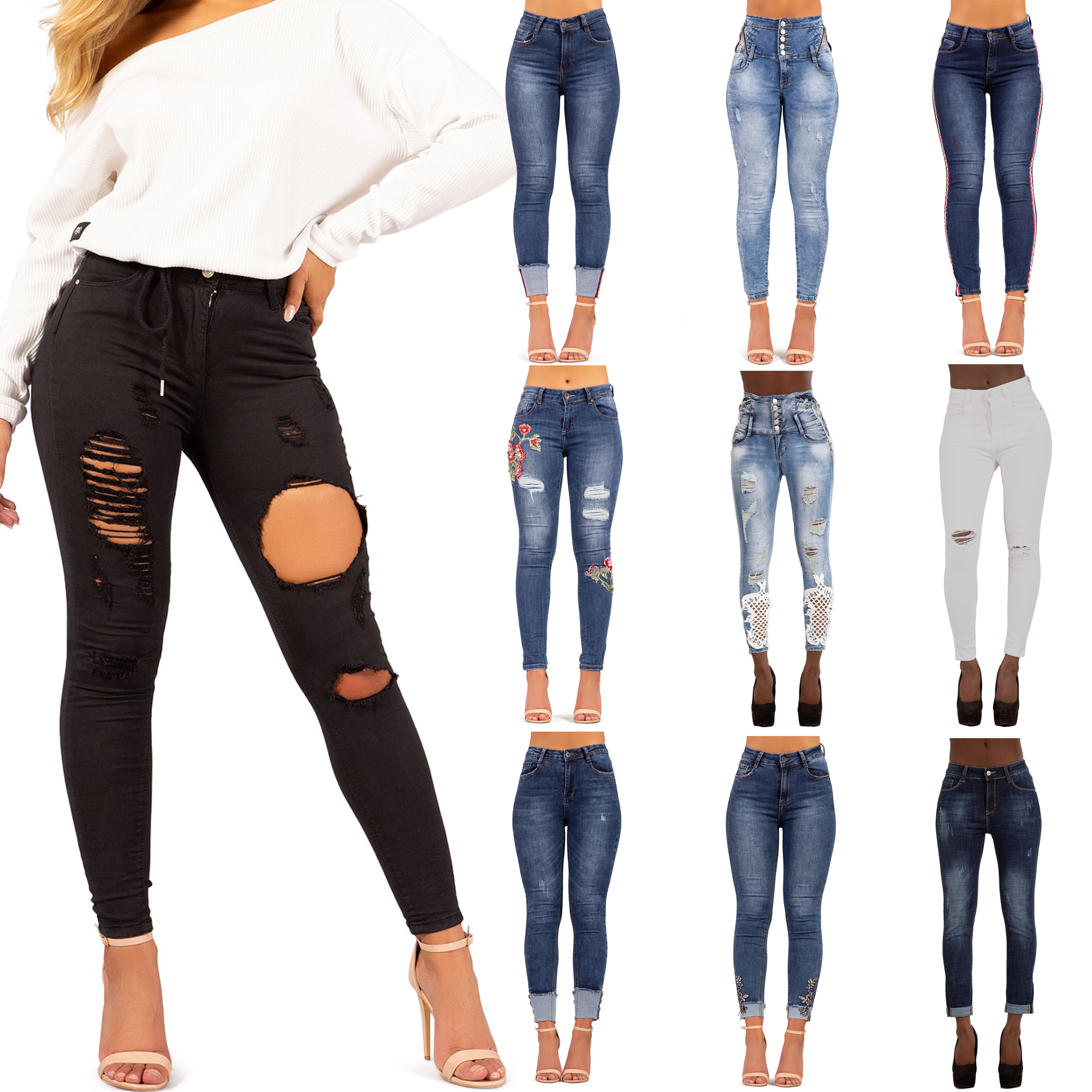 NEW WOMEN HIGH WAIST SKINNY FRAYED DISTRESSED KNEE RIPPED LADIES JEGGING JEANS