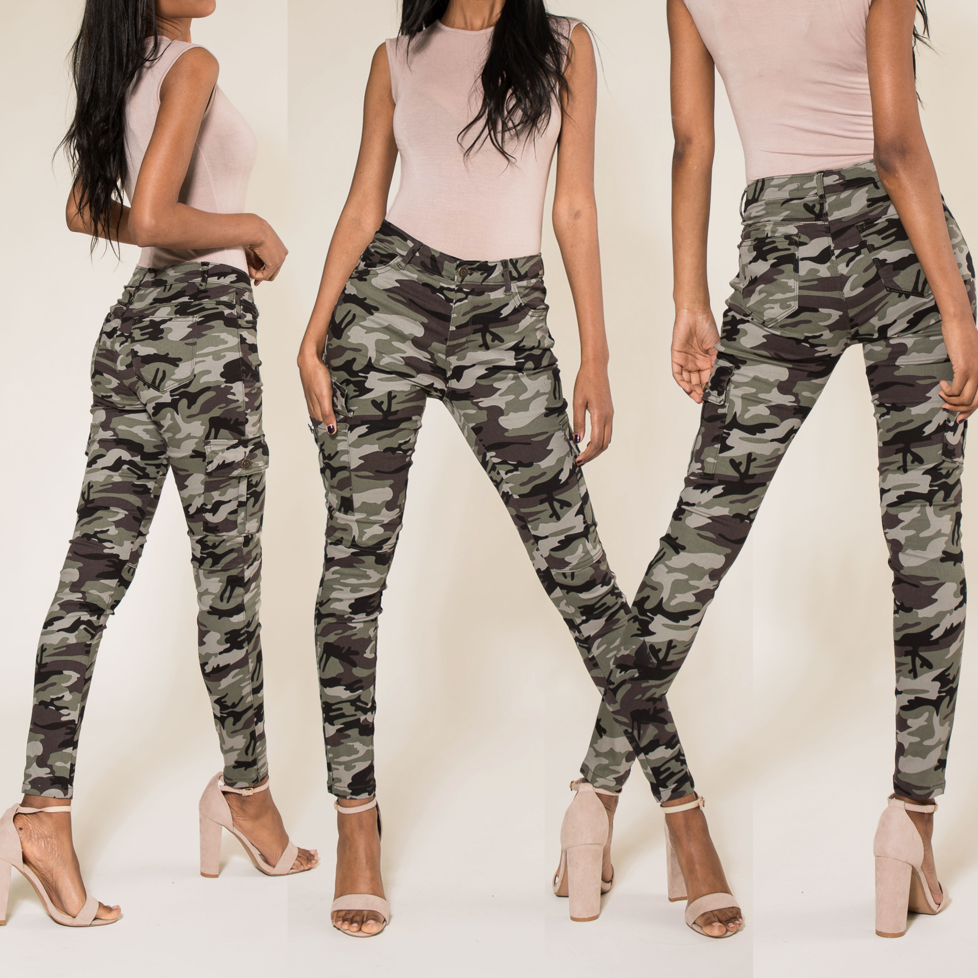 Womens Army Camo Pants Ladies Camouflage Casual Stretchy Skinny Jeans Size 6 14 Ebay