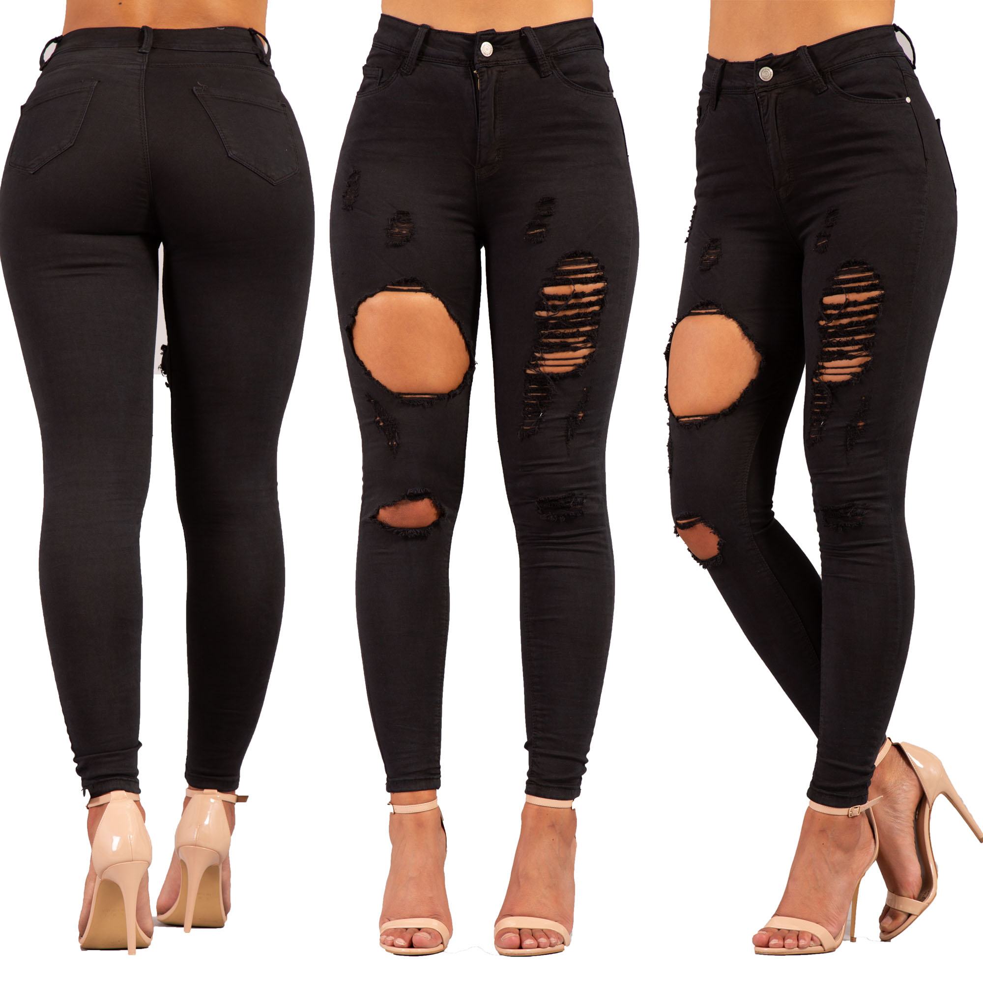 factory price best place closer at Details about Womens Black High Waisted Ripped Jeans Ladies Stretchy  Jeggings Pants Size 6-14