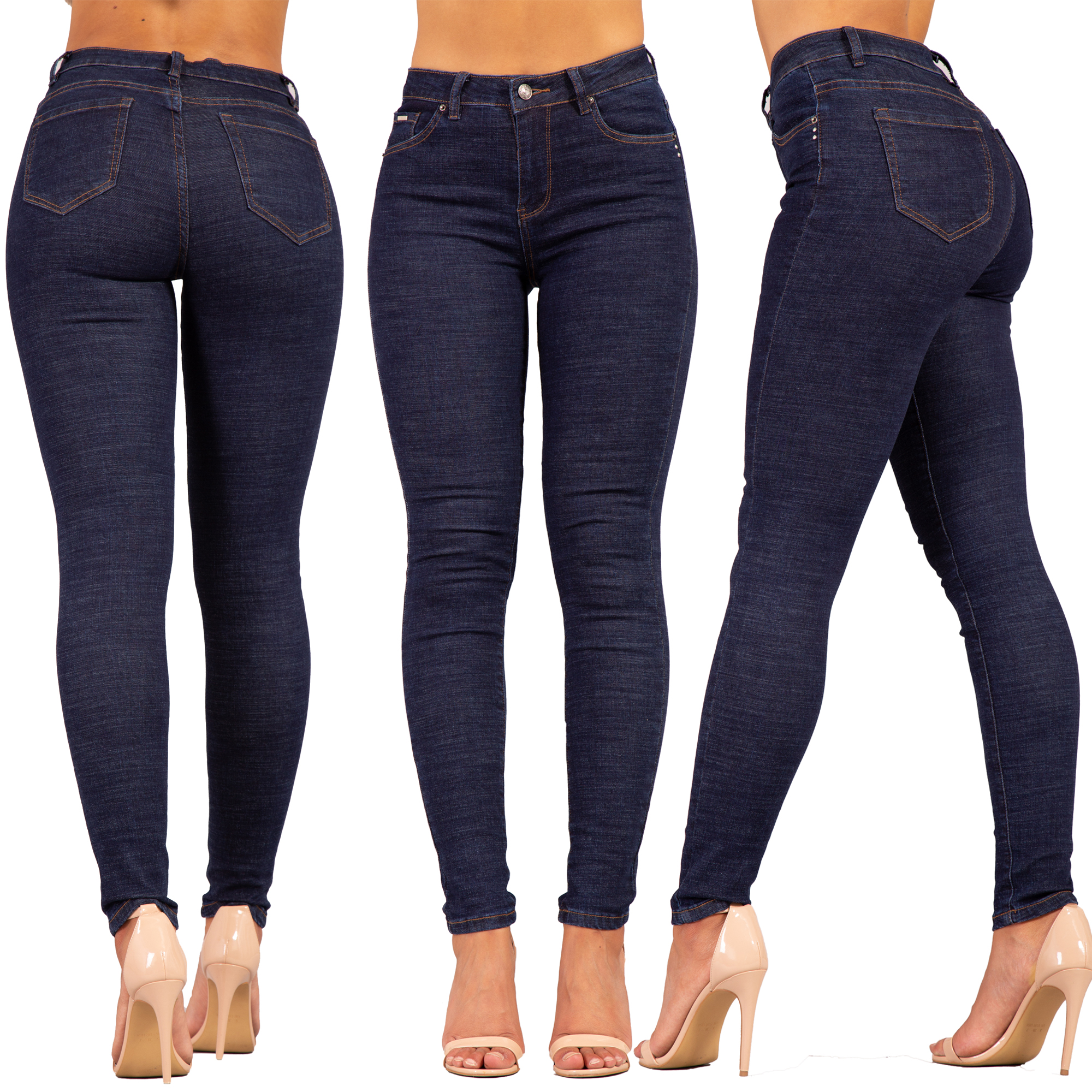 1c12af741b WOMENS HIGH WAISTED JEANS LADIES STRETCH HIGH RISE SKINNY PANTS SIZE 6-14