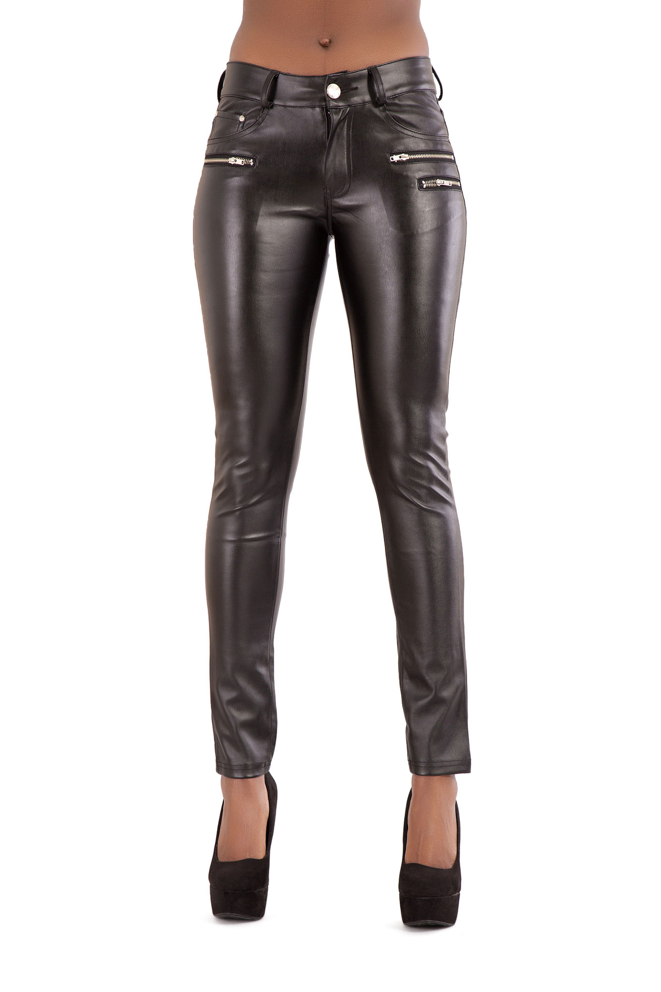WOMEN'S BLACK PU LEATHER LOOK TROUSERS Breathable Slim ...