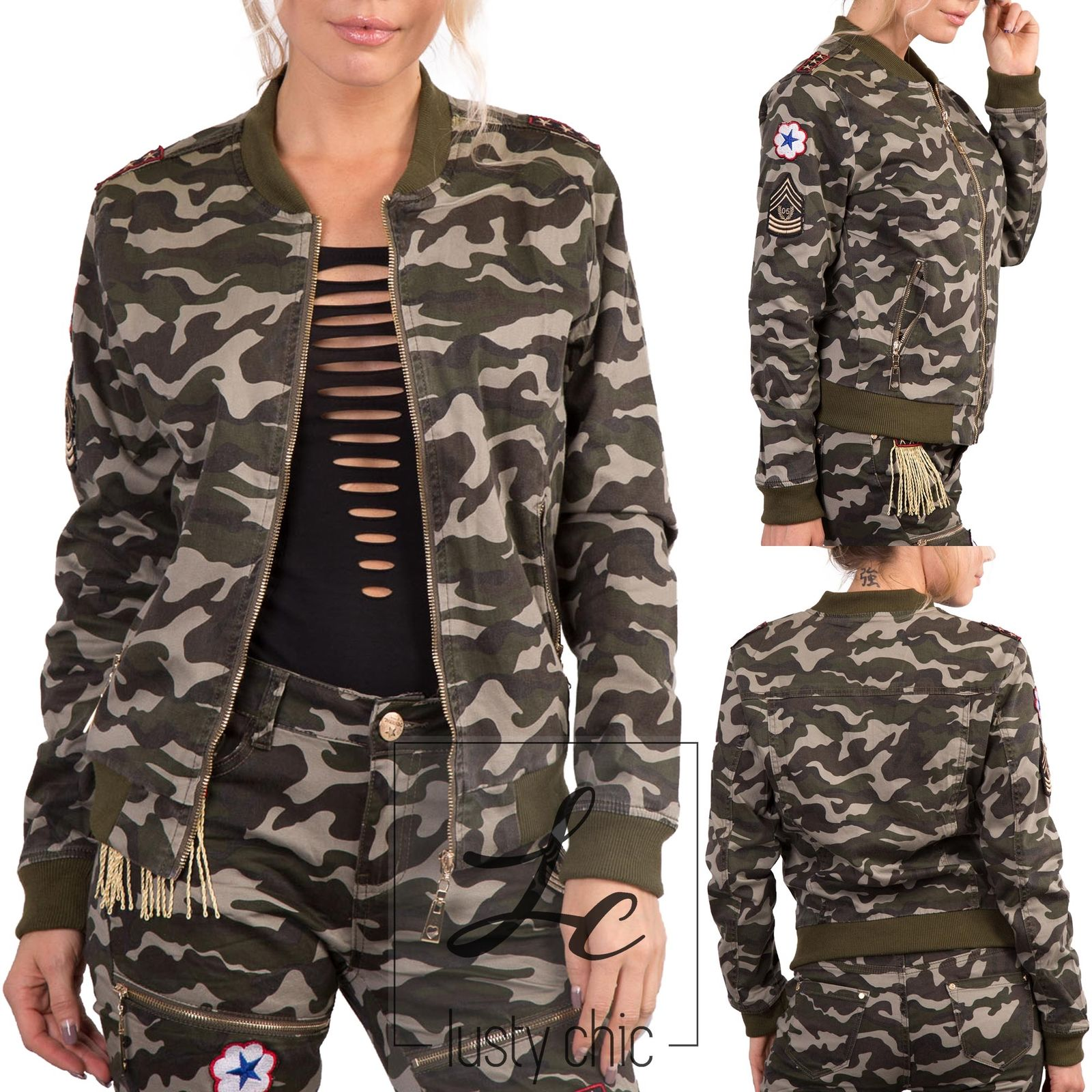 Ladies camouflage army leggings stretch cotton Sizes UK 8//10// 10//12 12//14