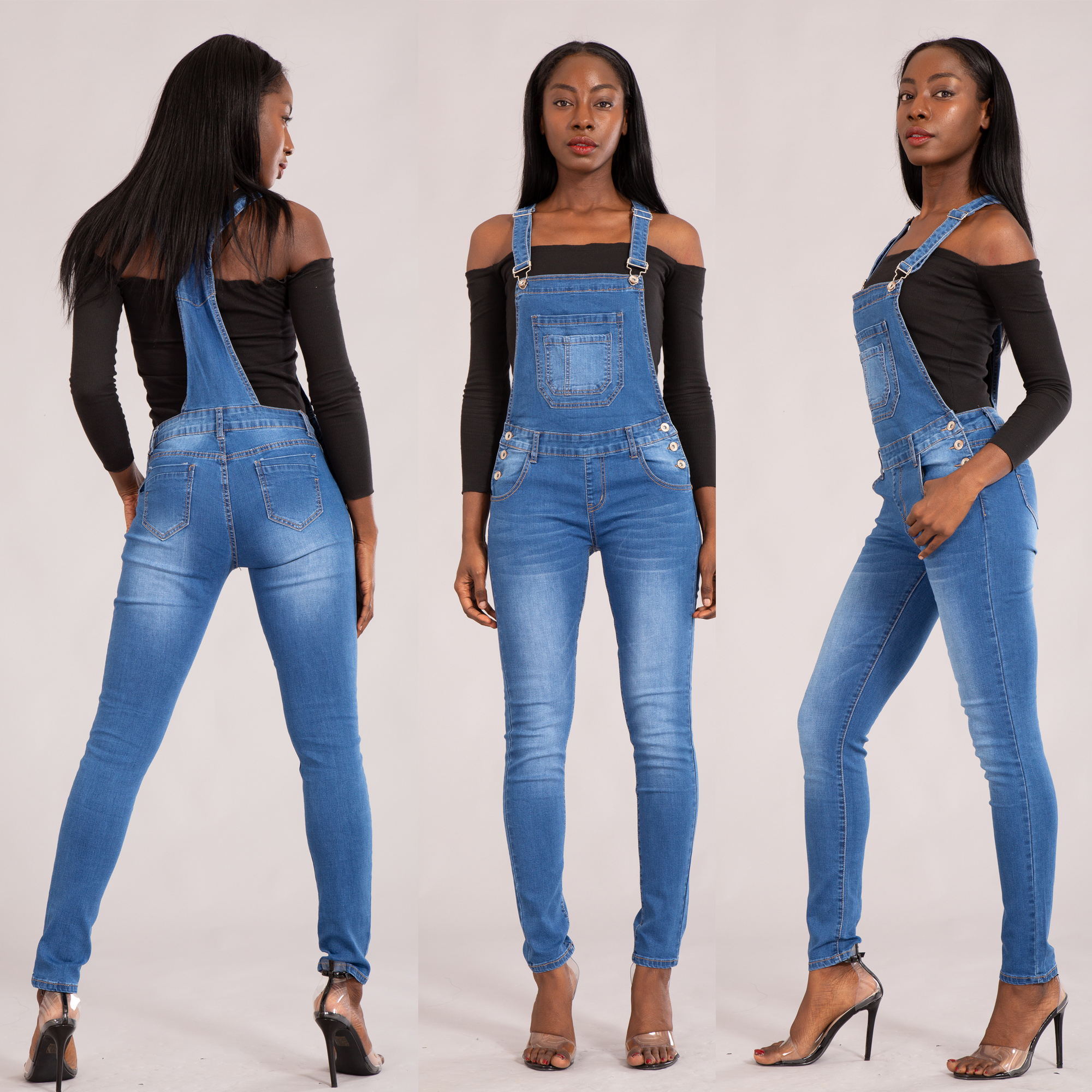 Ladies Denim boyfriend Jumpsuit stretch Overalls destroyed skinny Jeans UK 6-14
