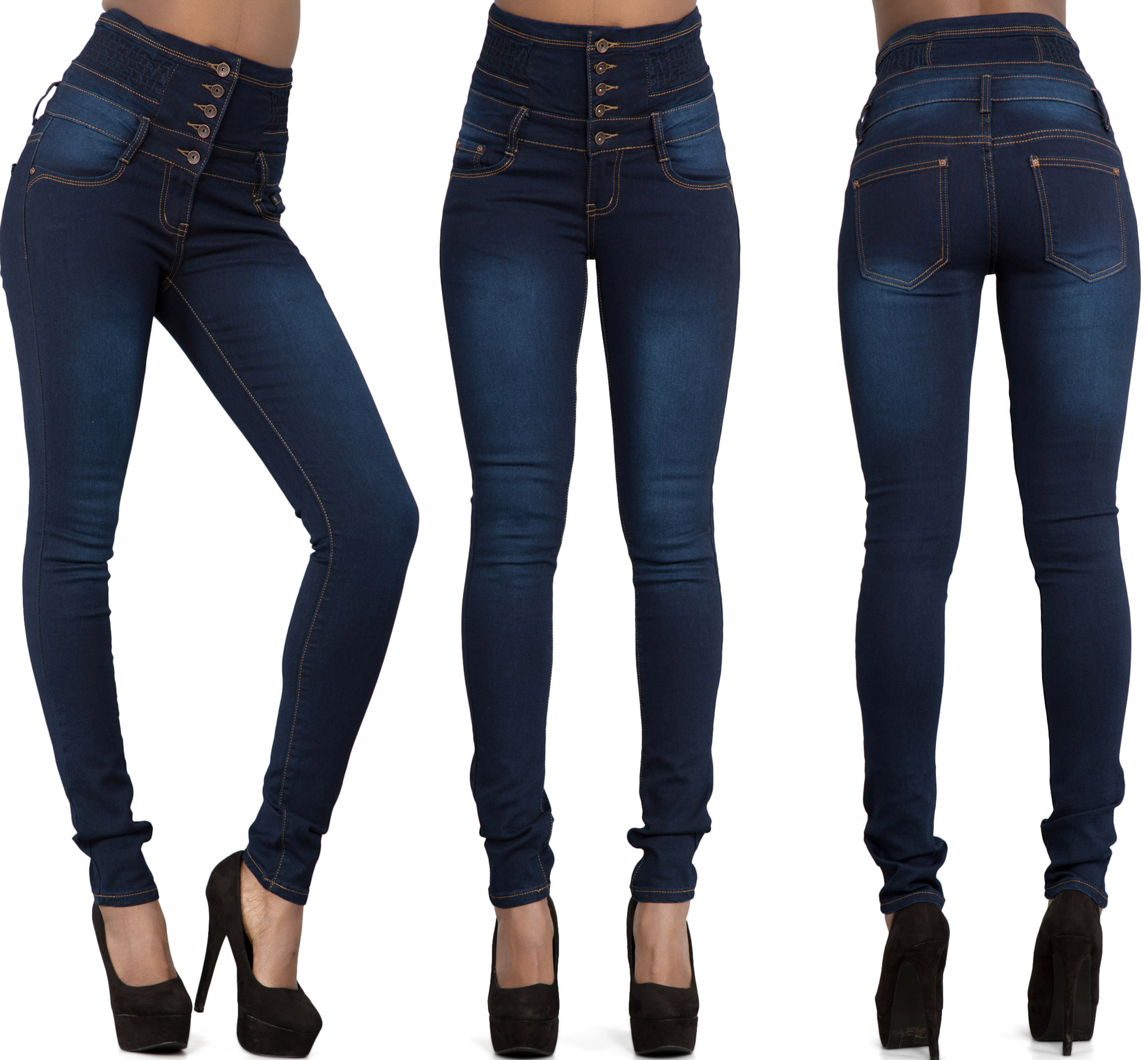 WOMEN-039-S-SUPER-HIGH-WAIST-SKINNY-JEANS-Faded-Acid-Wash-Great-Fit-Denim-SIZE-6-10