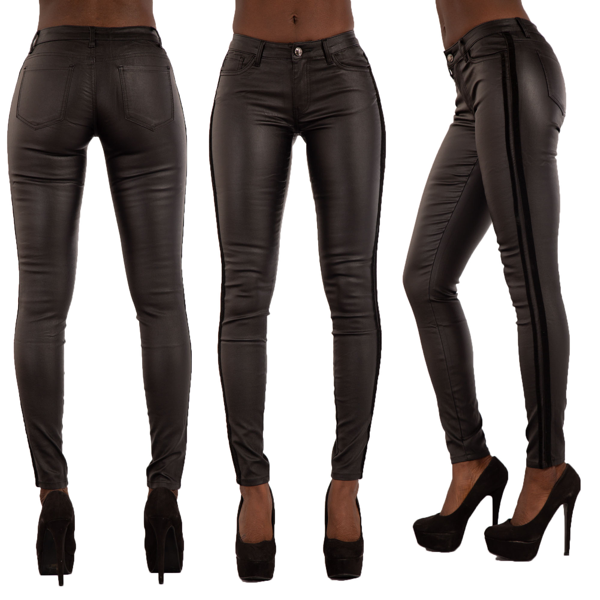 deft design search for genuine hot product Details about Womens Leather Look Trousers ladies Wet Look Leggings Skinny  Pants Size 6-16