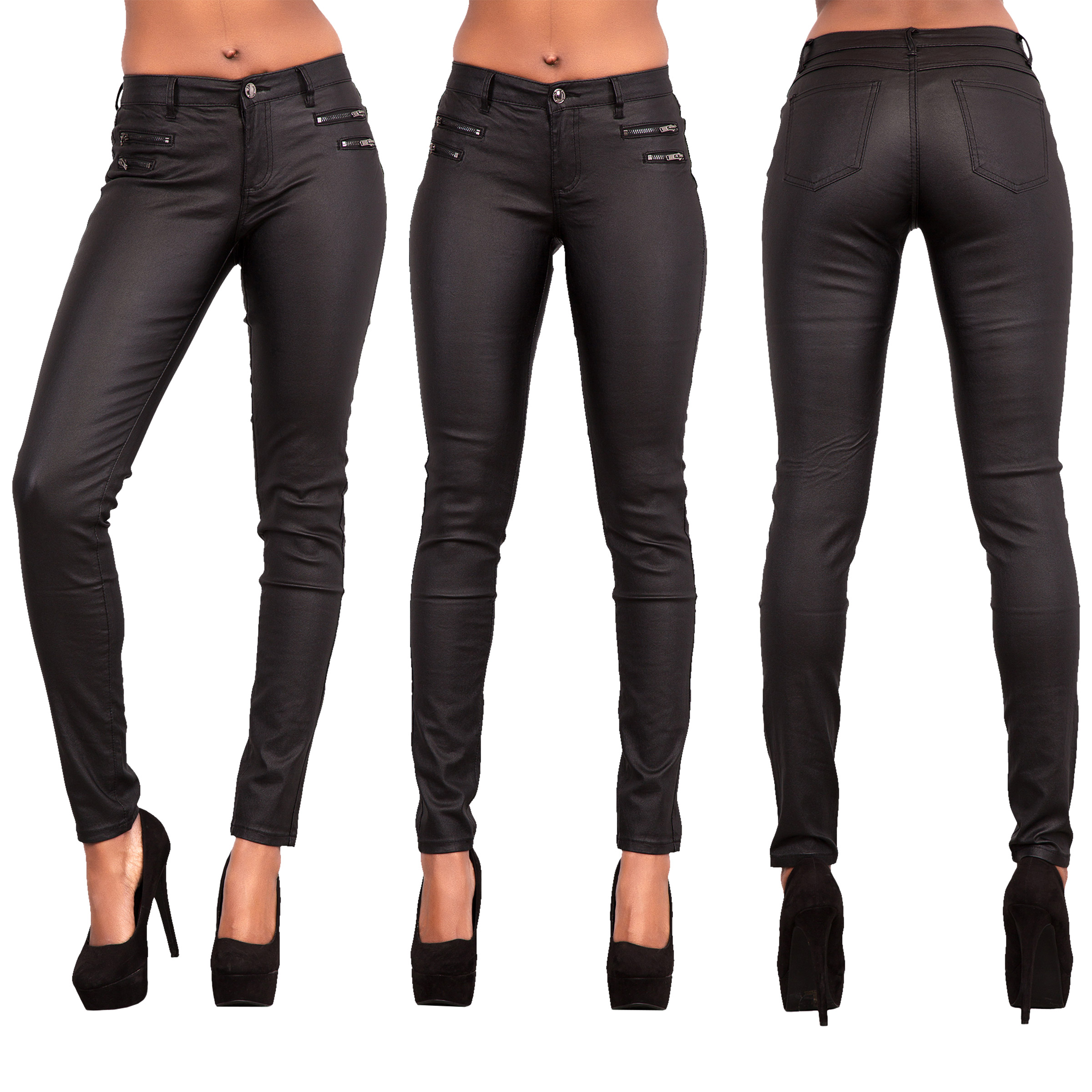 834112f13b12e Womens Leather Look Trousers ladies Wet Look Leggings Skinny Pants Size 6-16