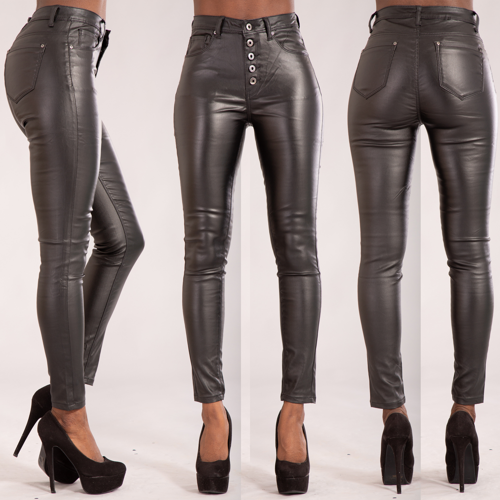 undefeated x hot-selling fashion official price Details about Women High Waist Leather Look Leggings Trousers Ladies Jeans  Size 8 10 12 14 16