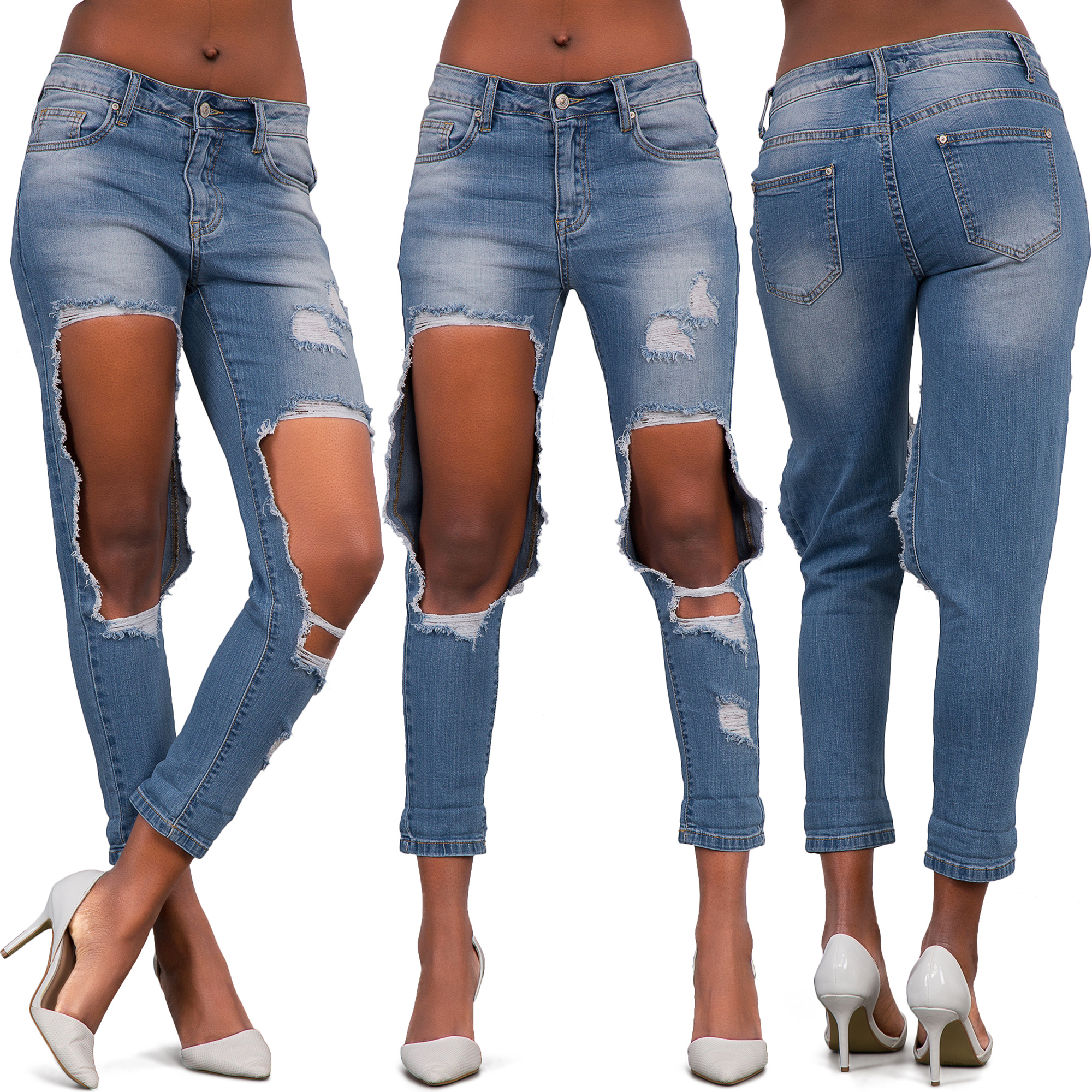 Womens-Ripped-Knee-Boyfriend-Mom-Jeans-Ladies-High-Waist-Frayed-Denim-Pants-6-14