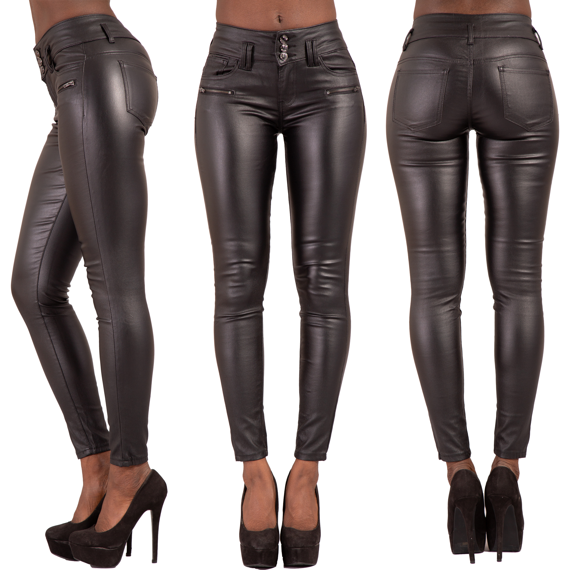 get new limpid in sight more photos Details about WOMEN HIGH WAIST BLACK LEATHER LOOK JEANS SLIM FIT TROUSERS  SIZE 6 8 10 12 14